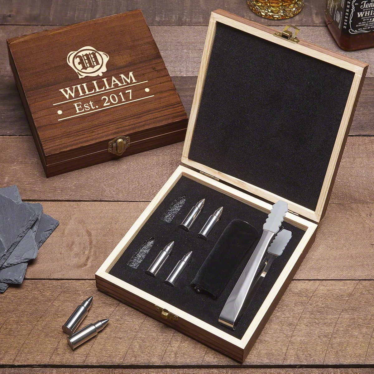 Wax Seal Engraved Gift Set with Bullet Whiskey Stones