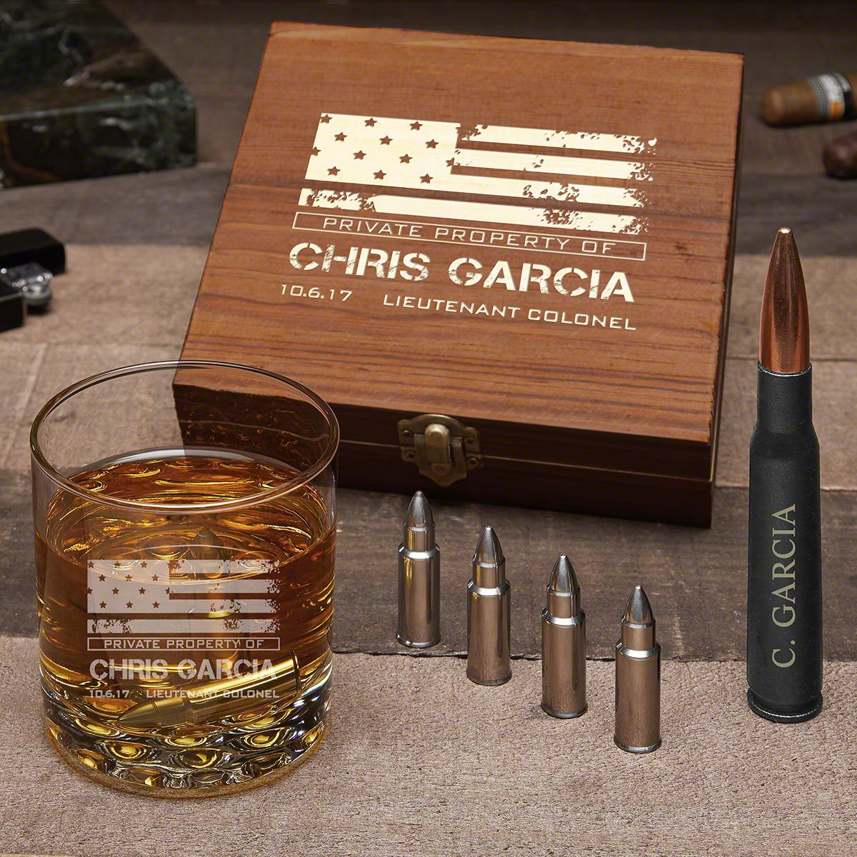& American Heroes Engraved Whiskey Bullet Set u2013 Military Gift Idea