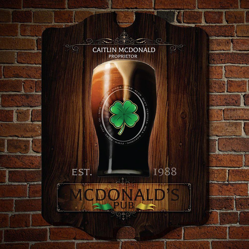 Failte Irish Pub Personalized Wooden Sign