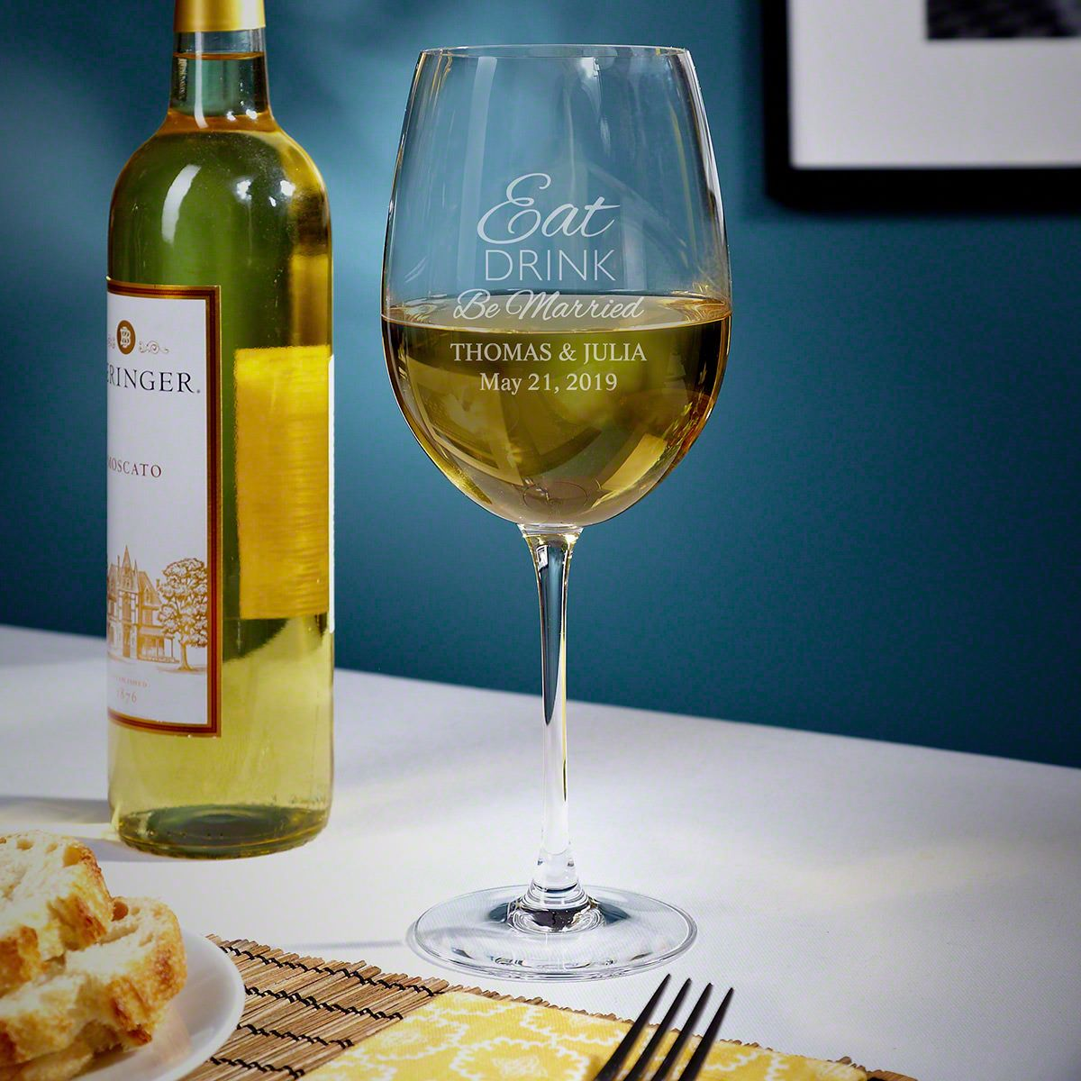 Eat Drink Be Married Custom White Wine Glass for Couple