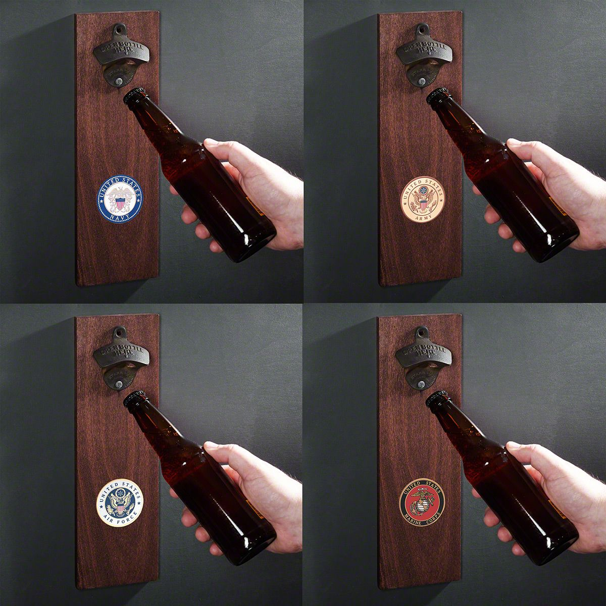 Military Crest Wall-Mounted Bottle Opener Gift for Military - 4 Styles