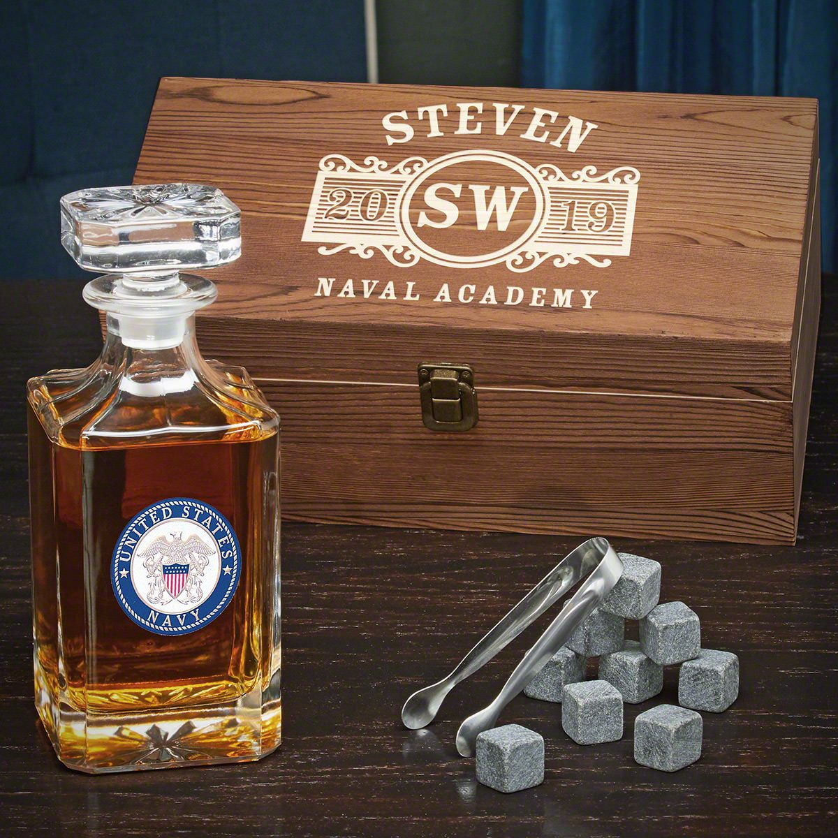 Marquee Custom Carson Decanter Box Set – Gift for Navy