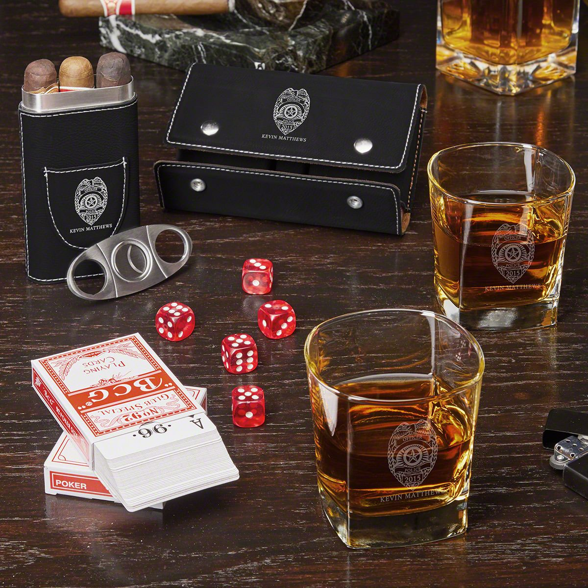 Game Night Police Badge Personalized Whiskey and Cigar Gift Set- Gift for Police Officers
