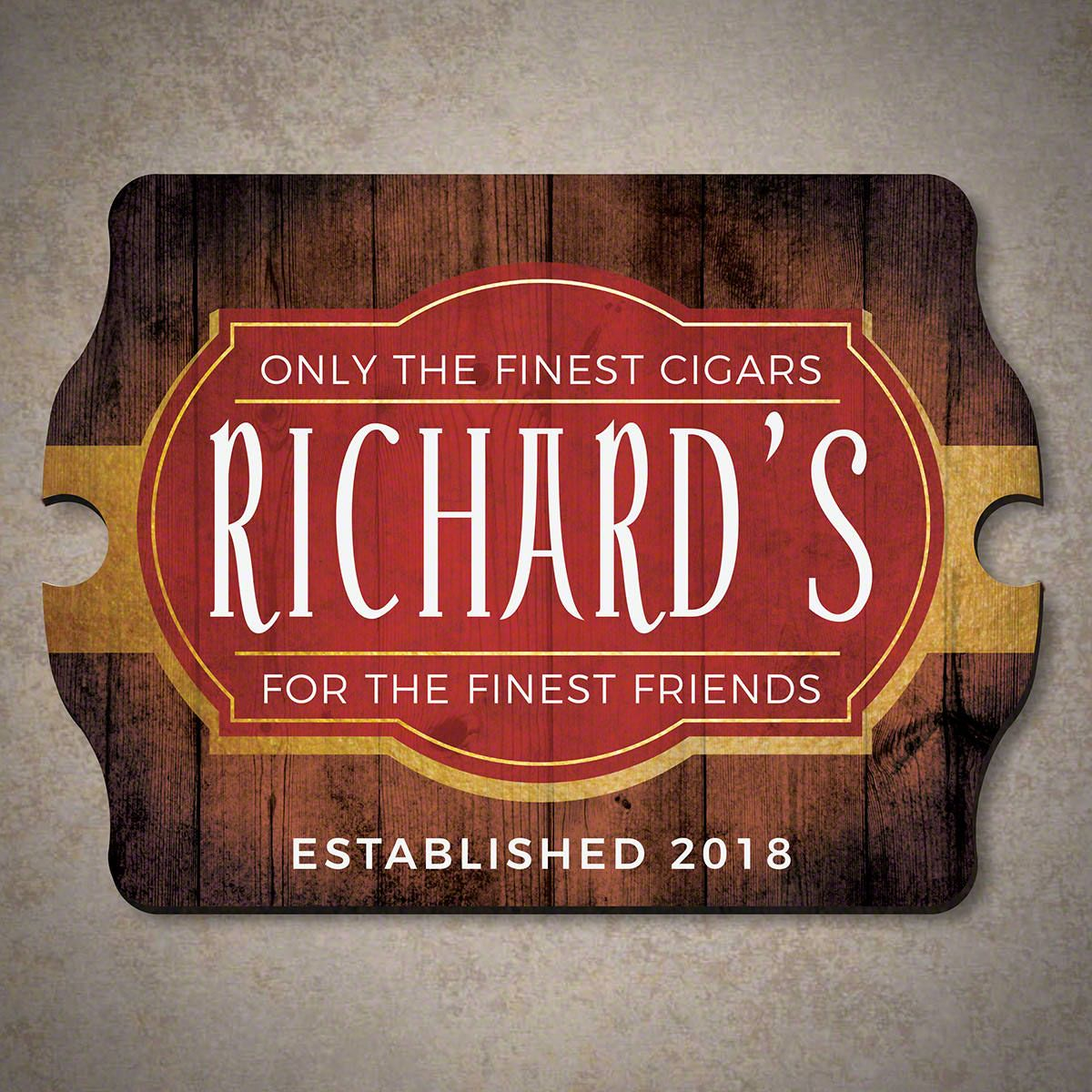 Finest Cigars Friends Personalized Wood Sign