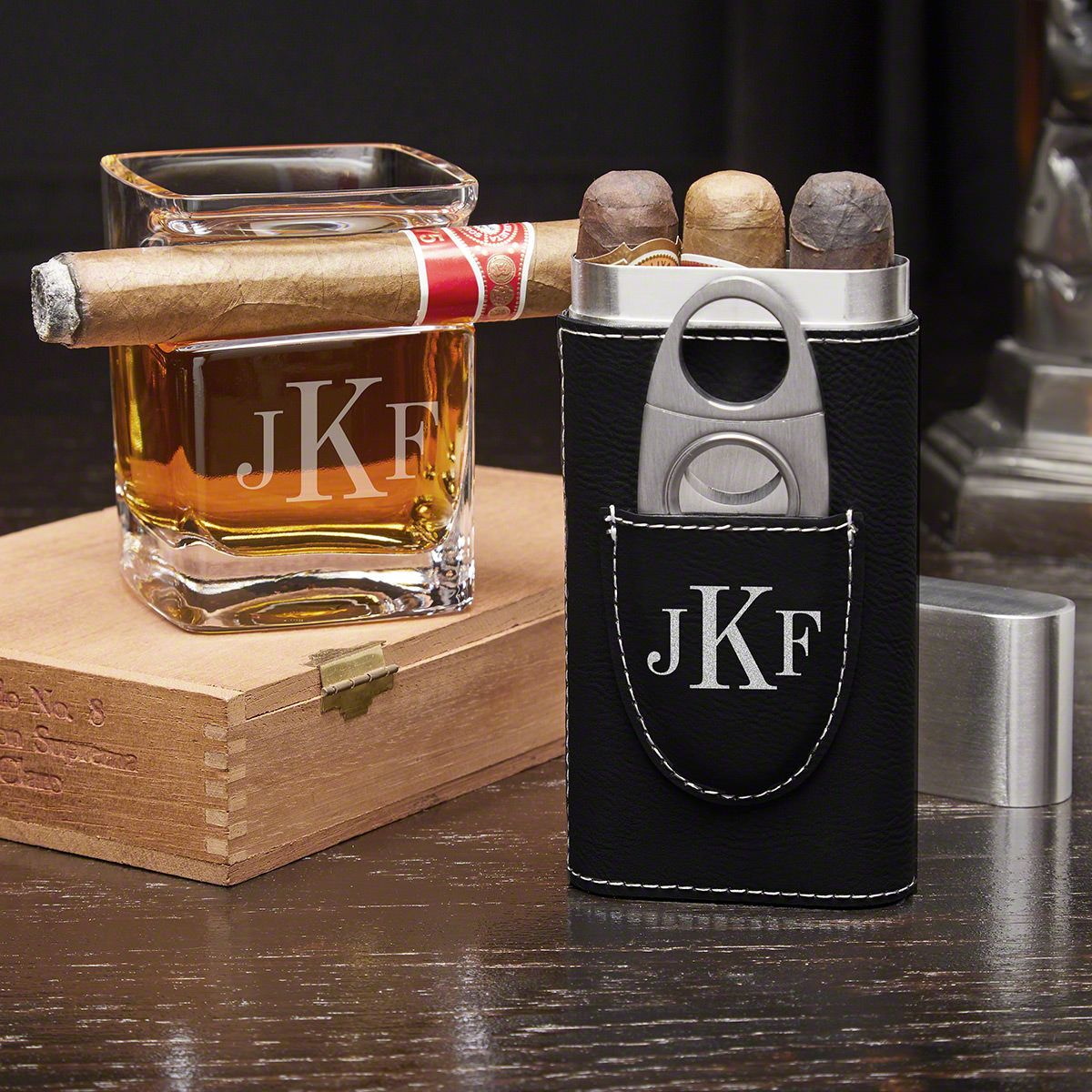 Classic Monogram Personalized Cigar Gift Set with Cigar Glass and Cigar Case
