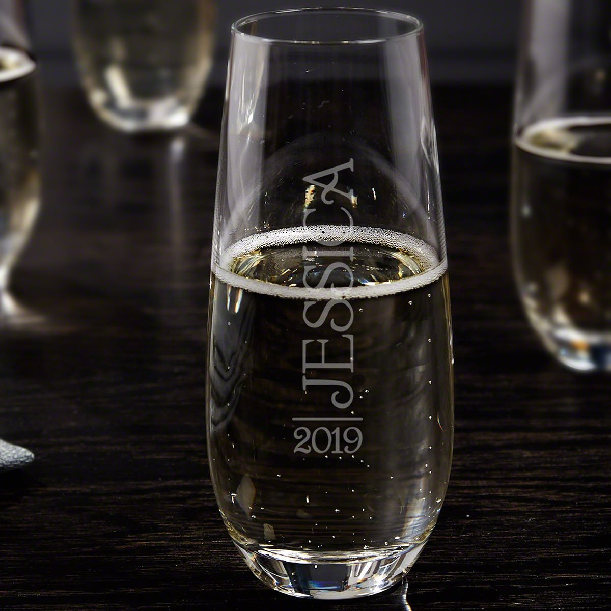 Jubilation Personalized Stemless Champagne Flute