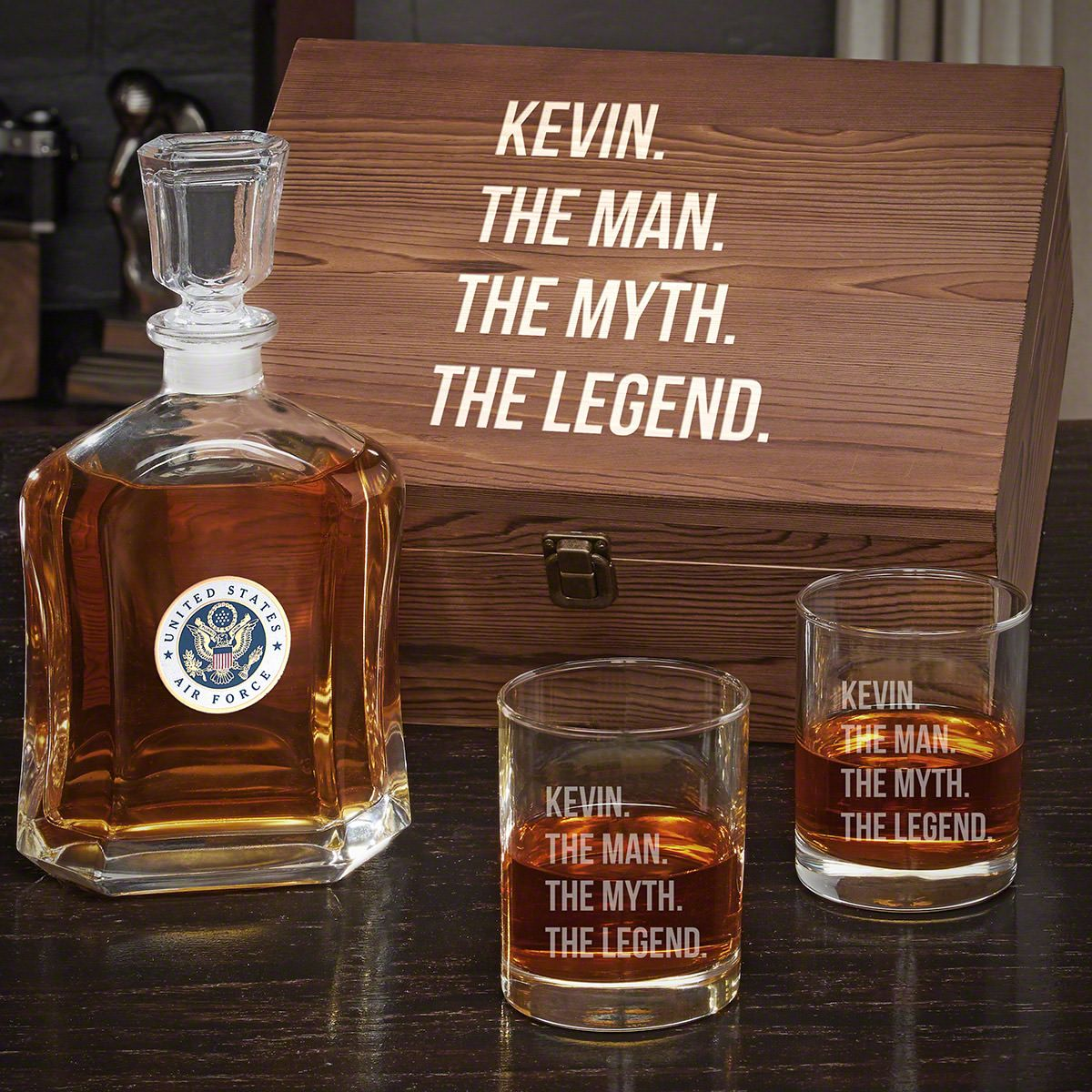 Man Myth Legend Personalized Whiskey Decanter Set with Eastham Glasses - Gift for Air Force