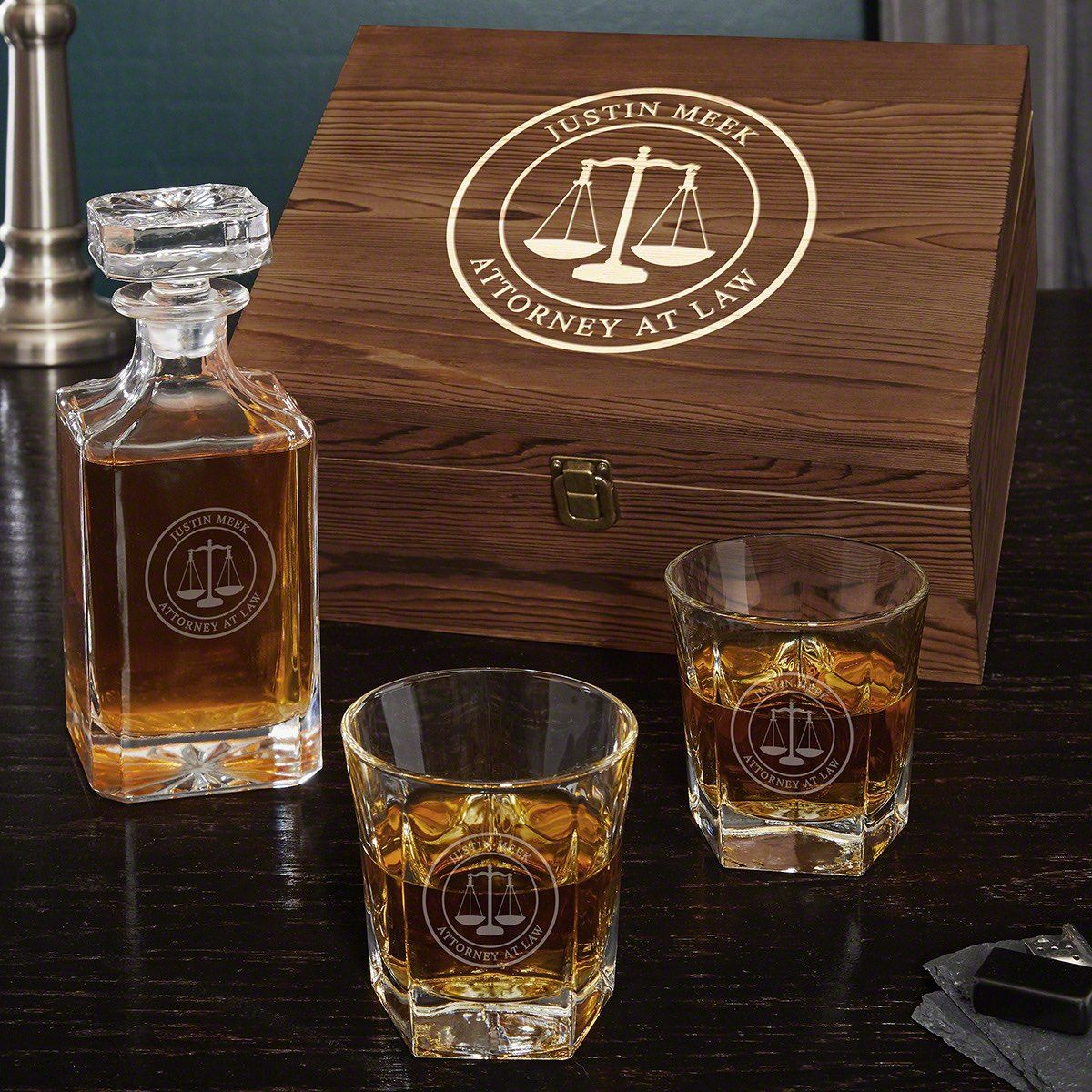 Scales of Justice Personalized Whiskey Decanter Set - Gifts for Lawyers