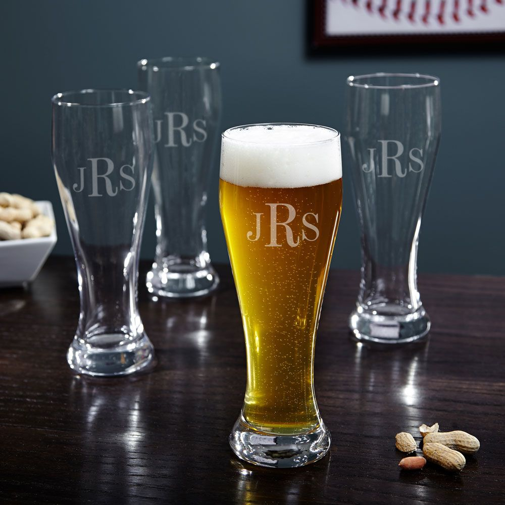 Monogrammed Pilsner Beer Glasses, Set of 4