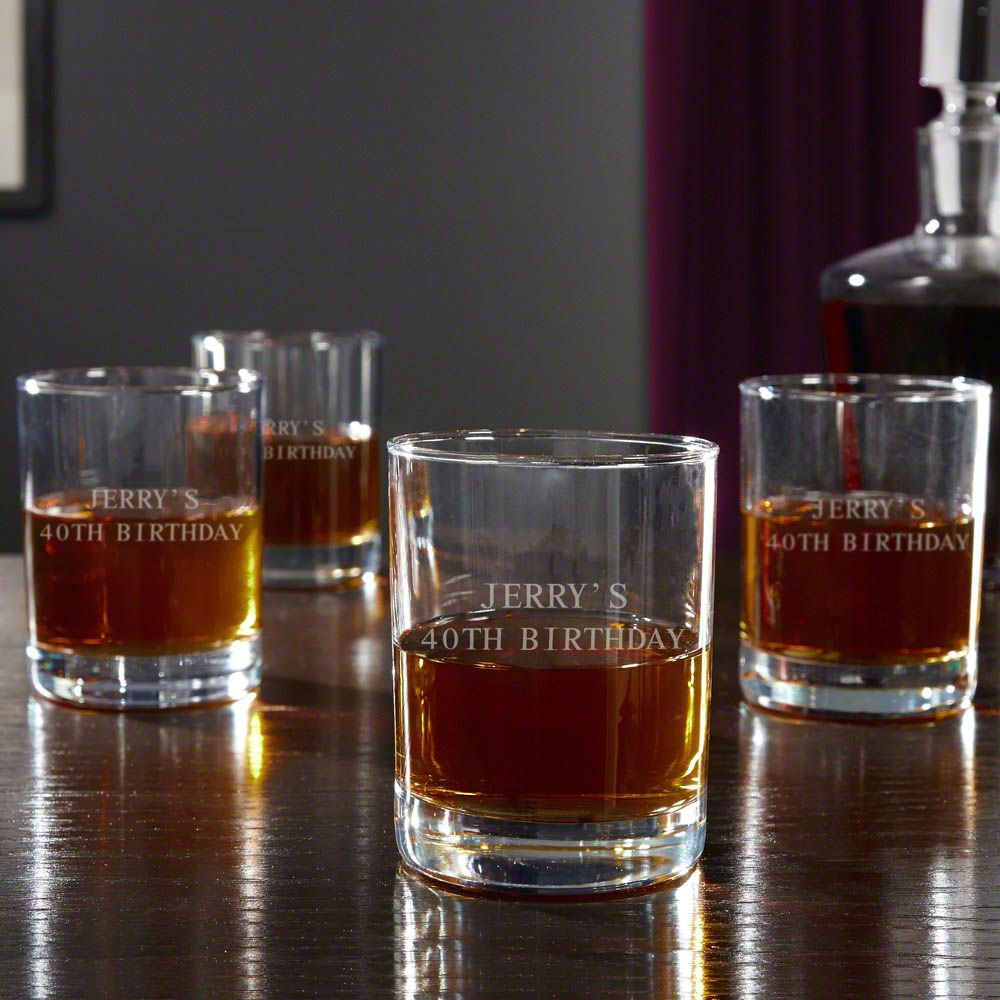 Eastham Personalized Whiskey Glasses, Set of 4