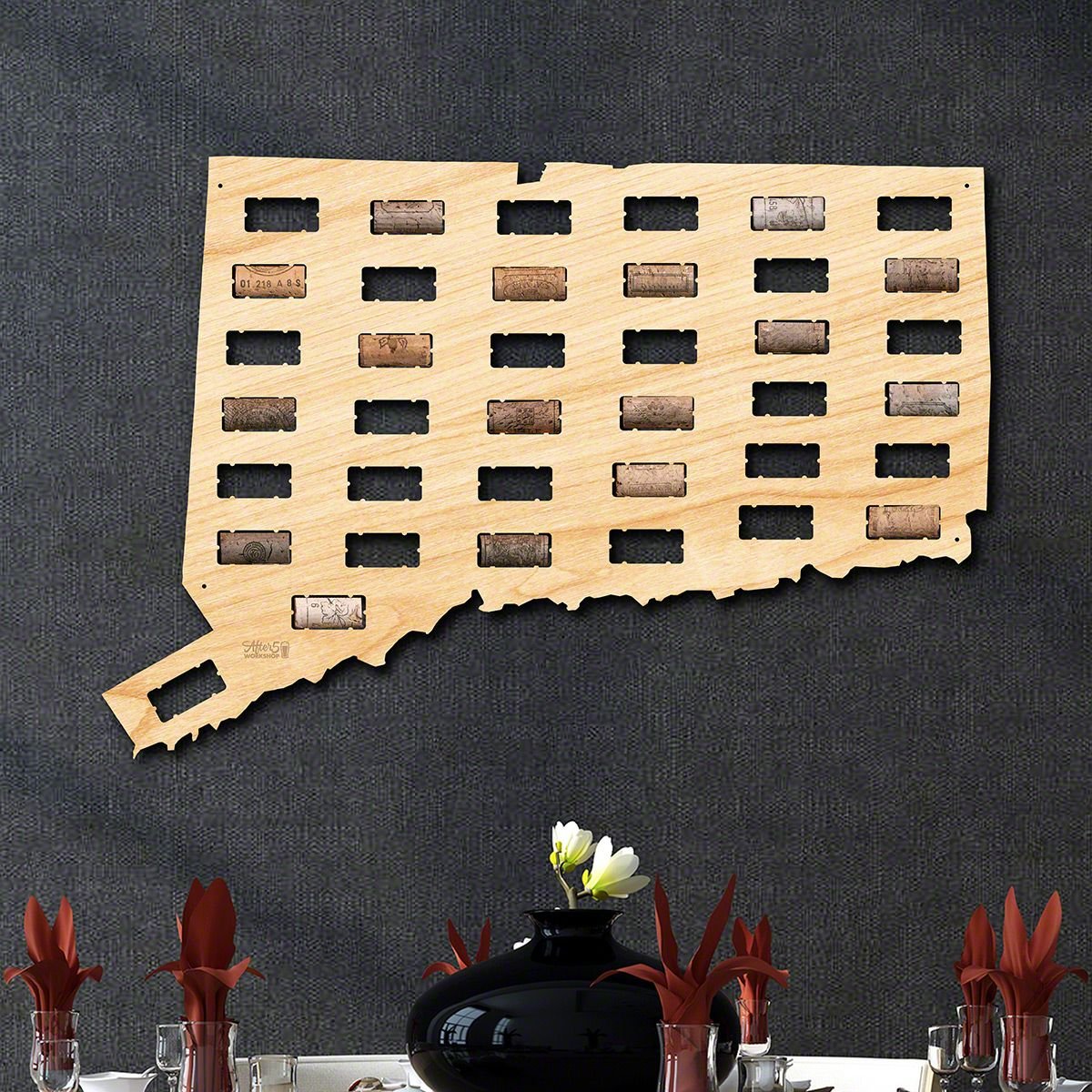 Connecticut Wine Cork Map