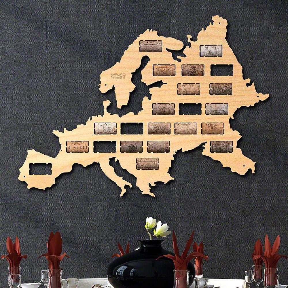 Europe Wine Cork Map