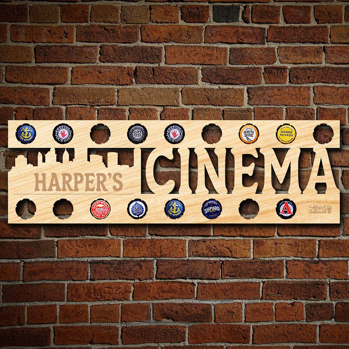 Personalized Home Cinema Sign and Beer Cap Holder