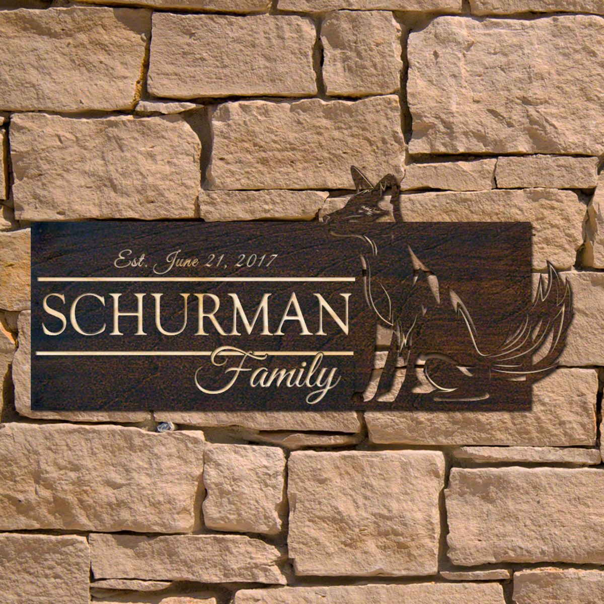 Fox Burrow Personalized Wooden Sign (Signature Series)