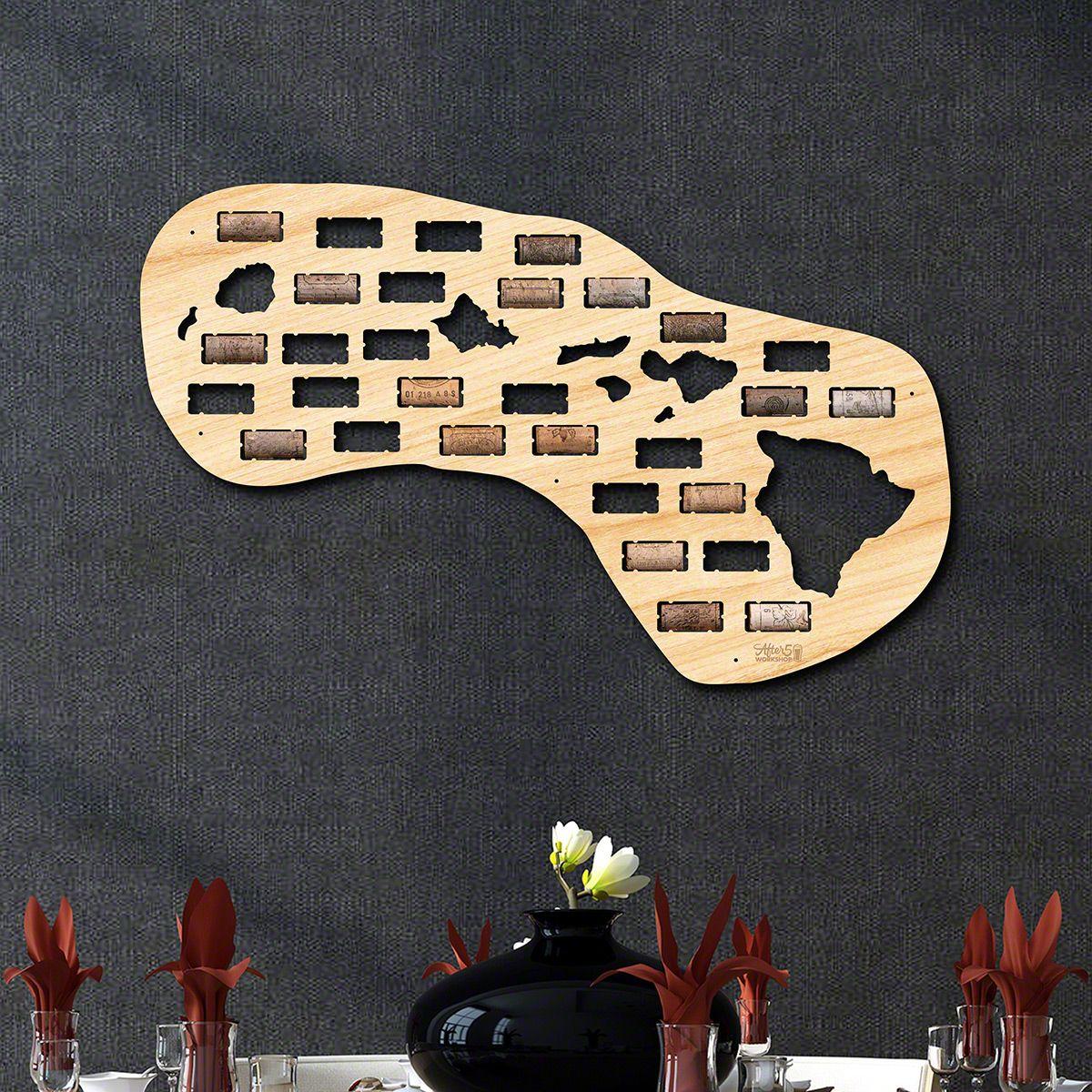 Hawaii Wine Cork Map