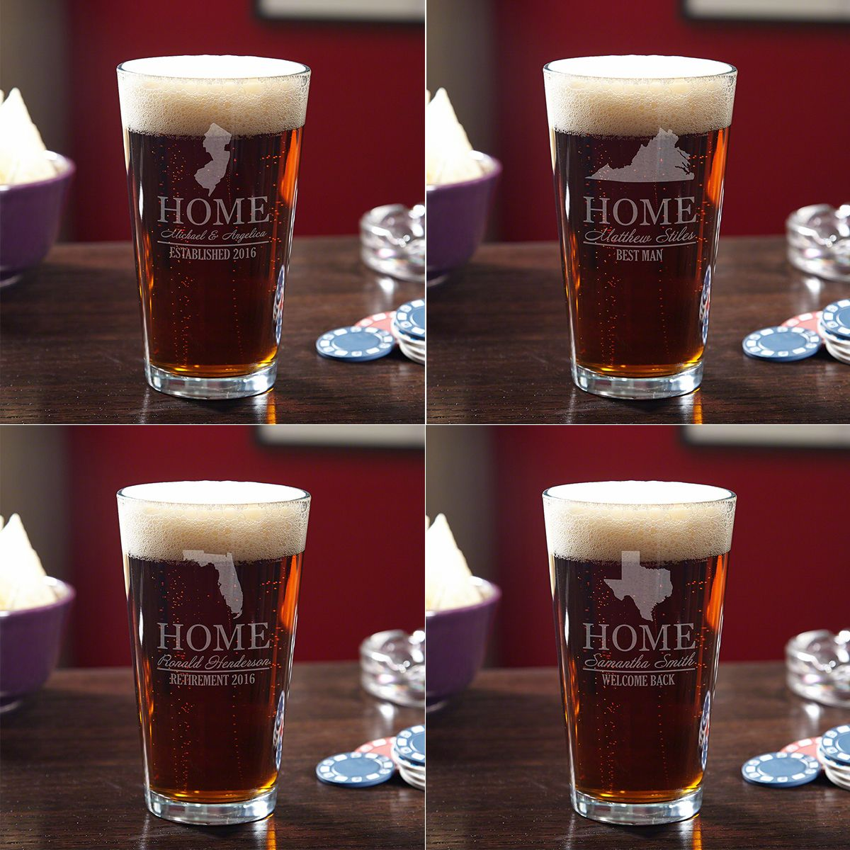 Custom Beer Glass with Your Home State (All 50 Avail)