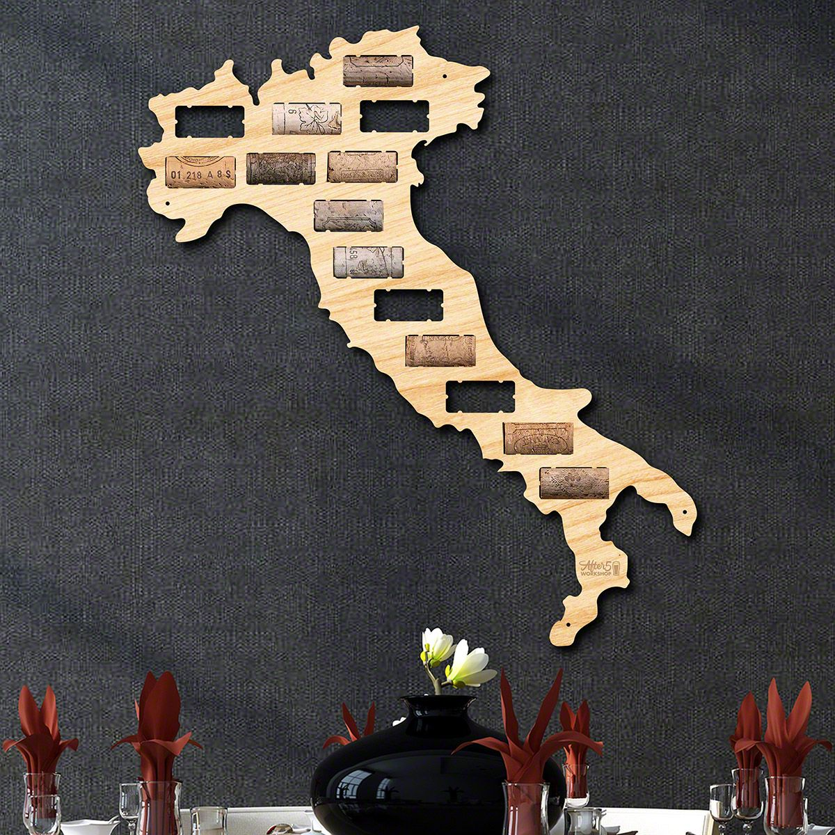Italy Wine Cork Map