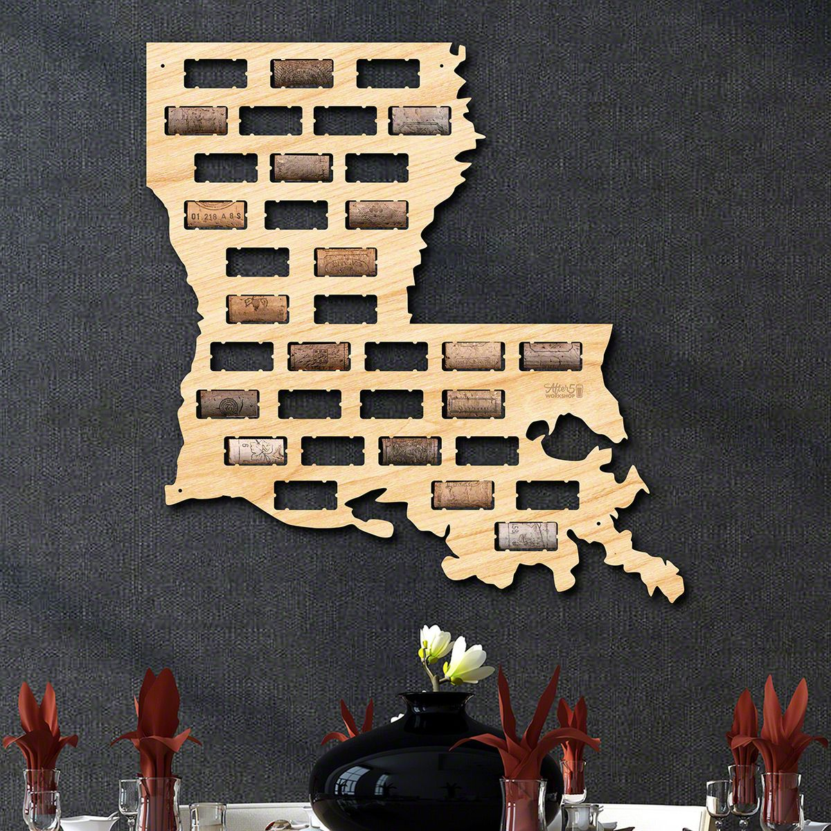 Louisiana Wine Cork Map