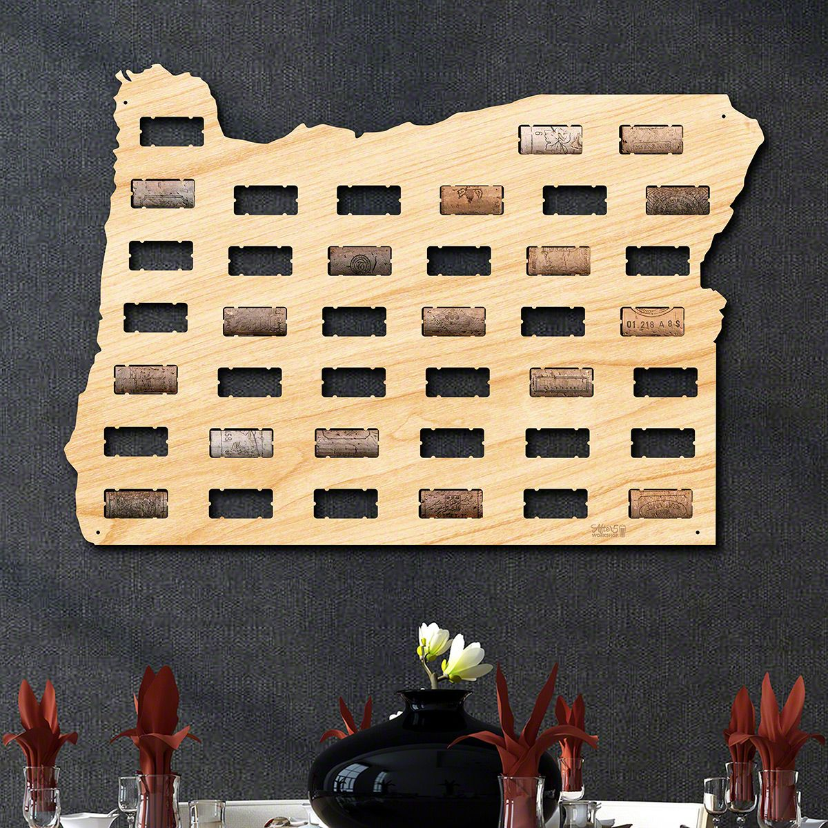 Oregon Wine Cork Map