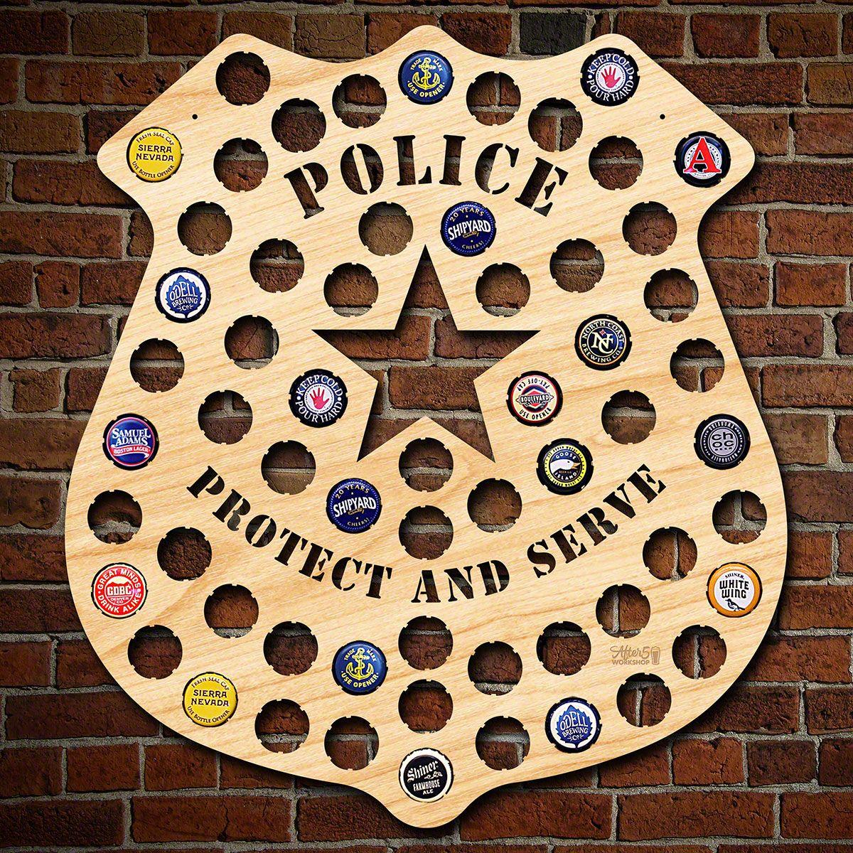 Police Badge Beer Cap Map