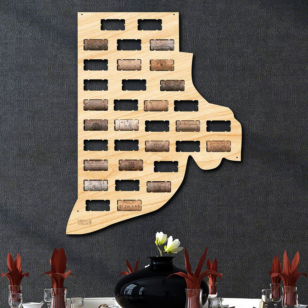 Rhode Island Wine Cork Map