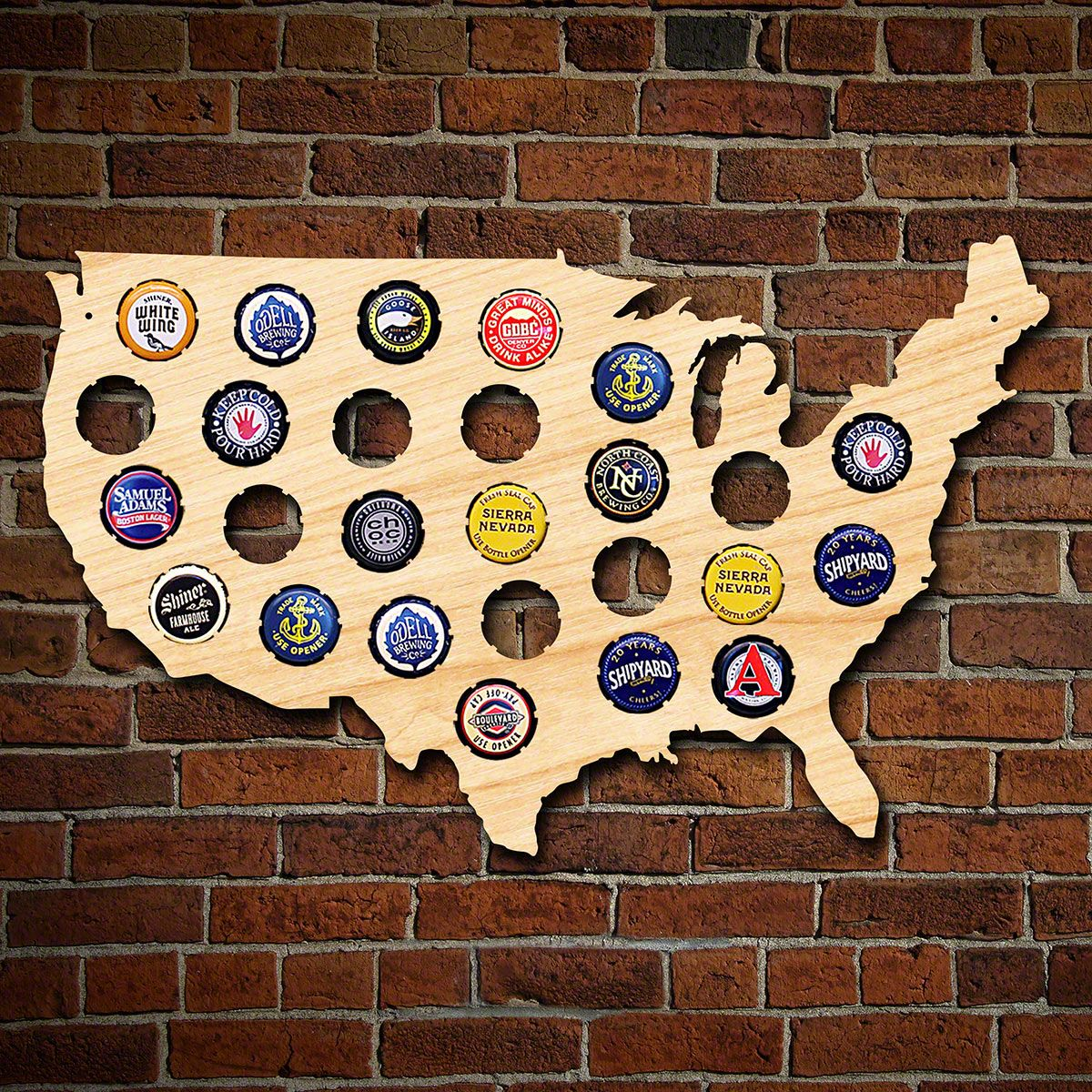 Small USA Beer Cap Map