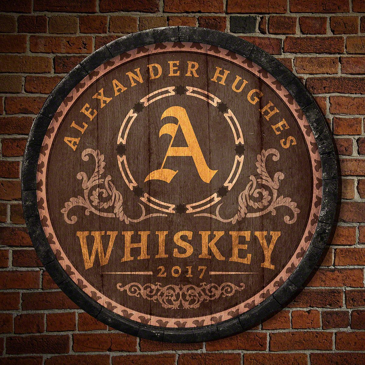 Lancaster Personalized Whiskey Barrel Bar Sign