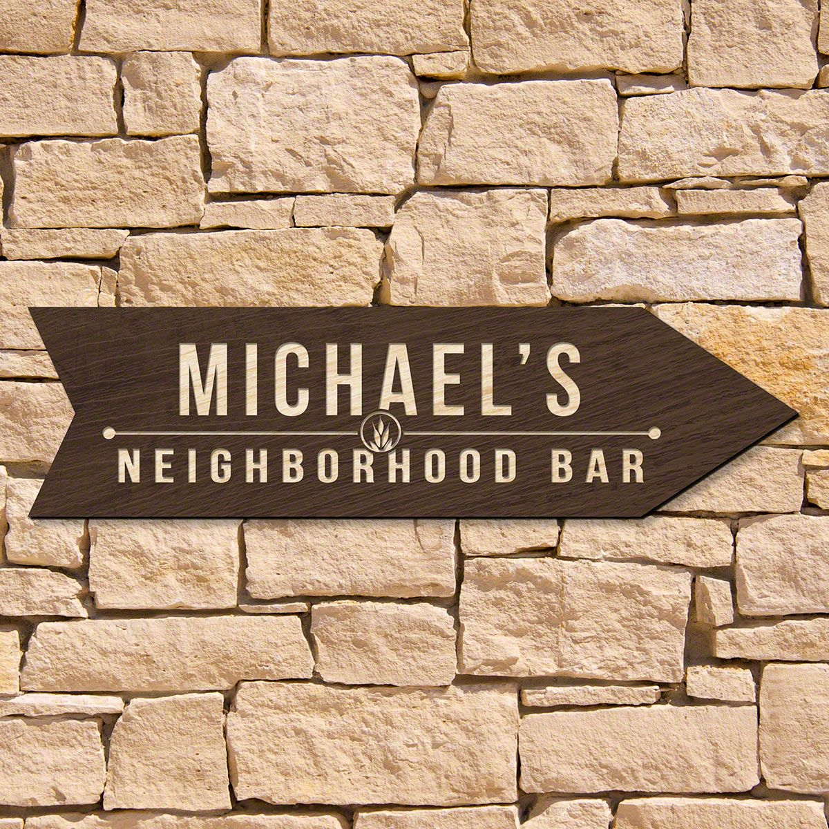 Hudson Personalized Home Bar Sign (Signature Series)