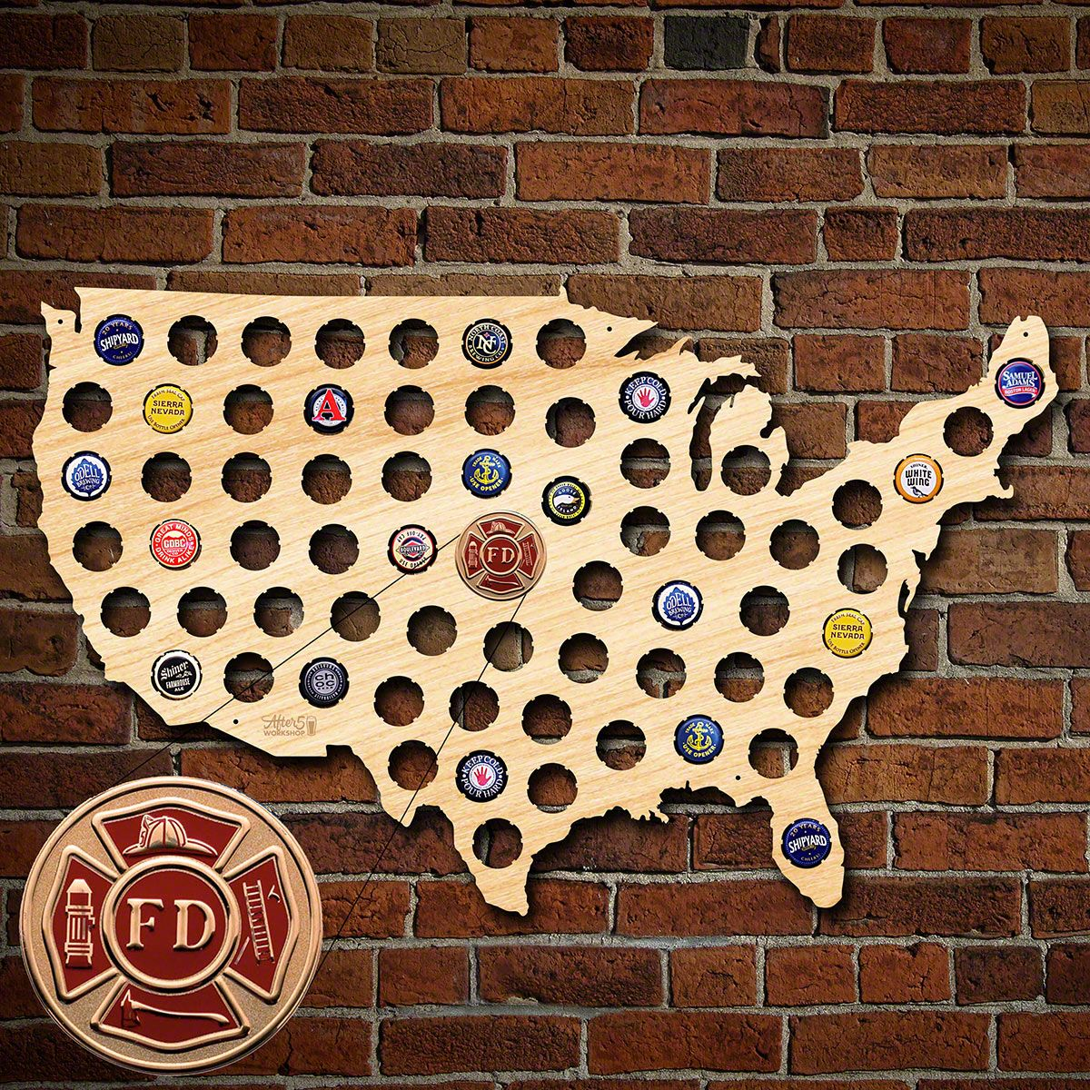 Fire & Rescue Beer Cap Map of America