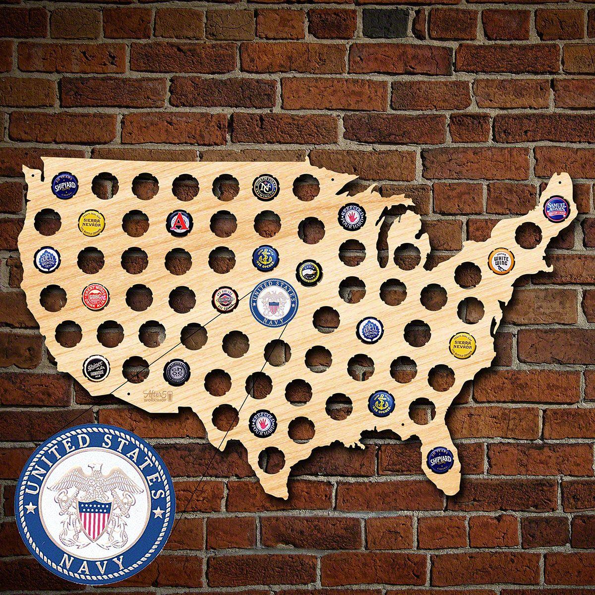 US Navy Beer Cap Map of America