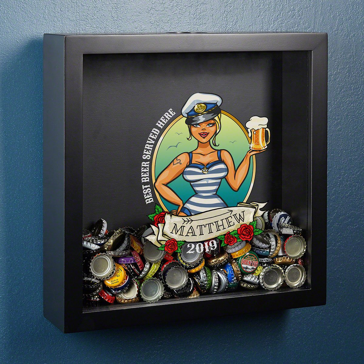 Smooth Sailing Personalized Bottle Cap Shadow Box