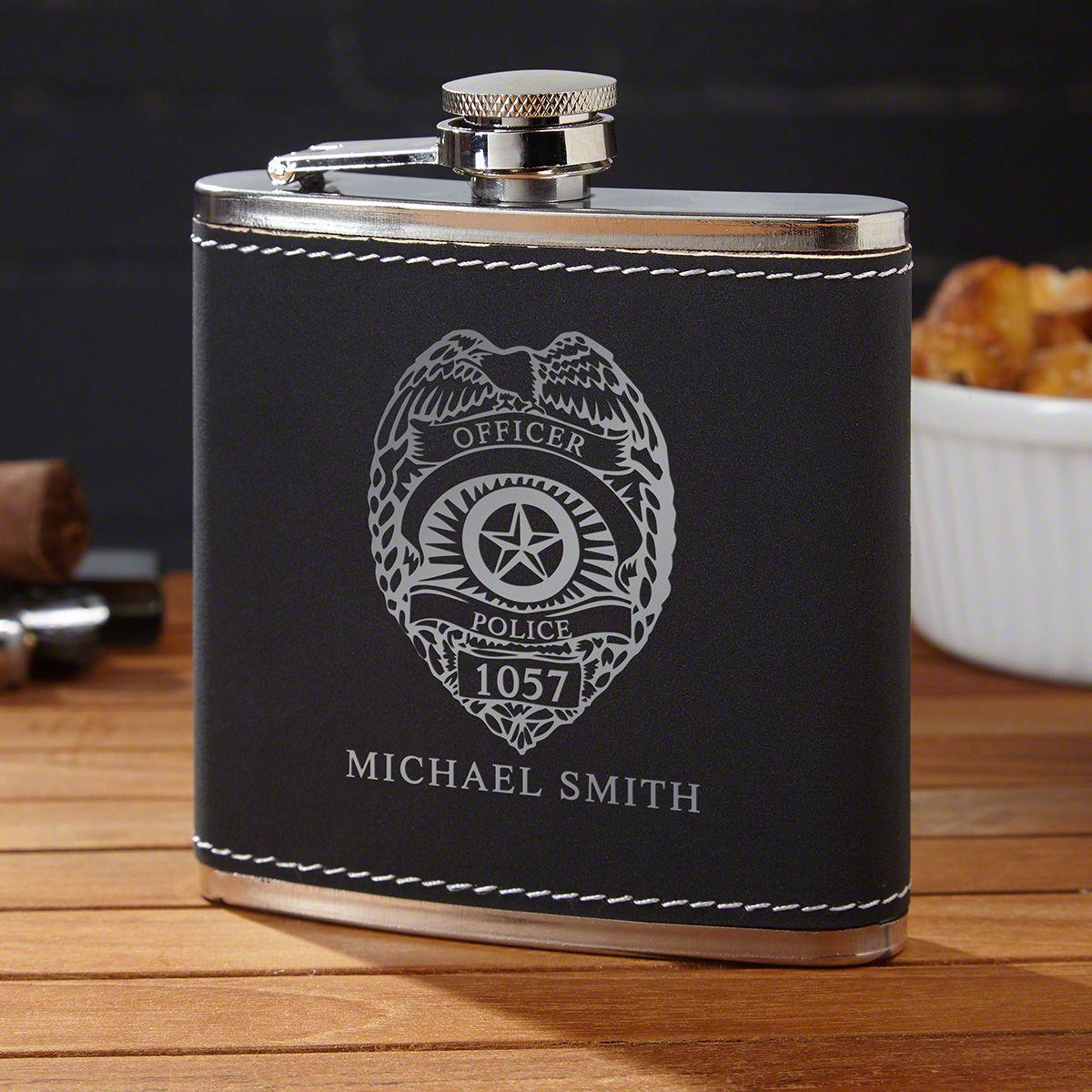 Black Suede Police Badge Hip Flask