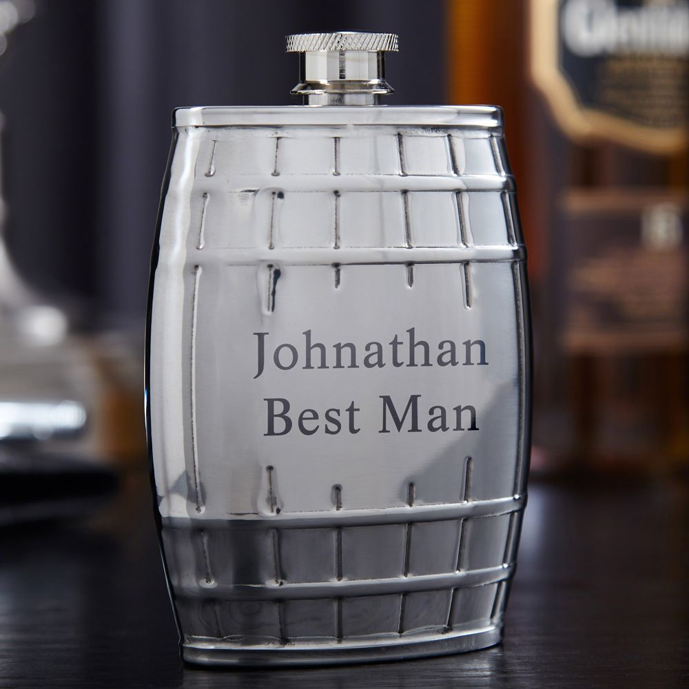 Pemberton Whiskey Barrel Engraved Flask