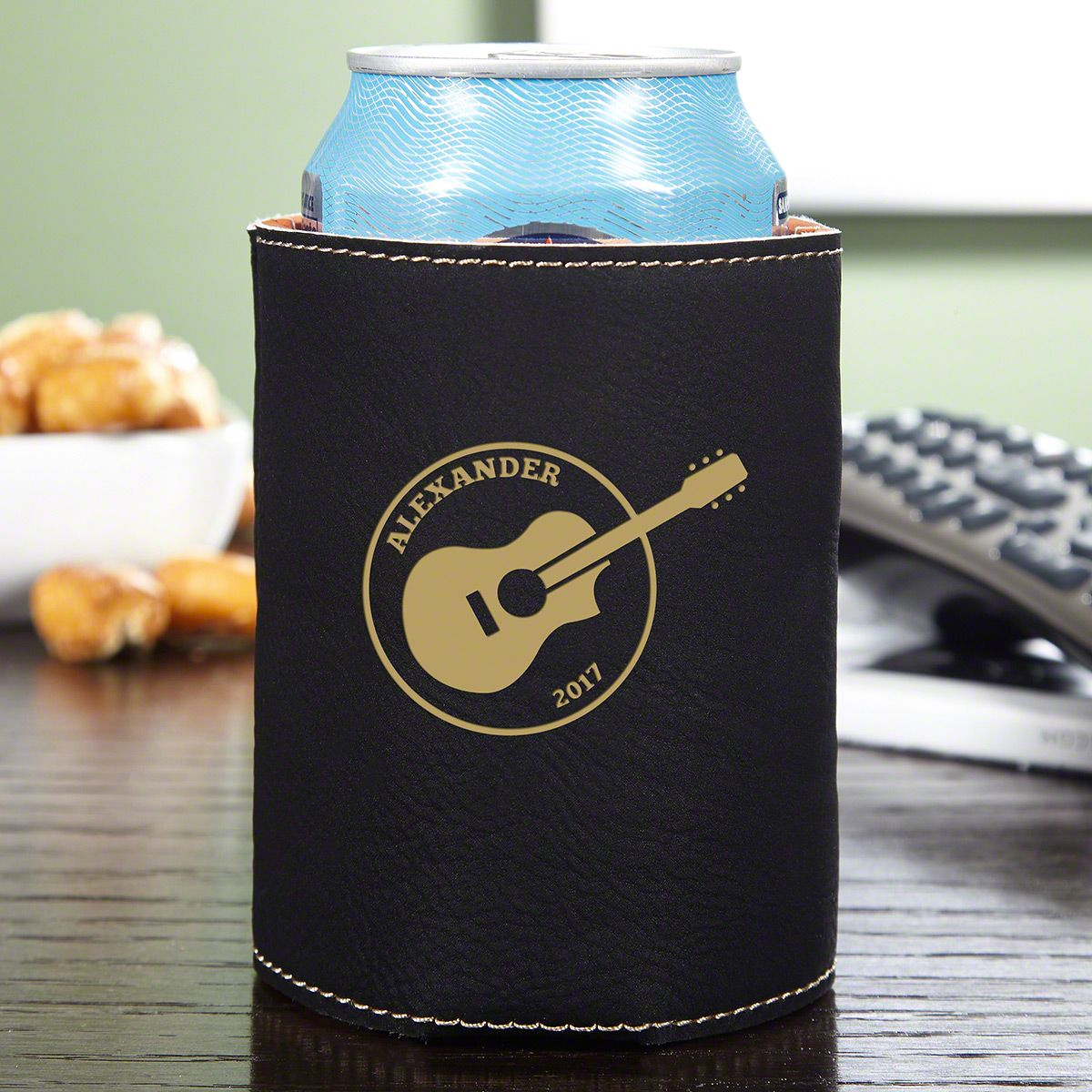 Acoustics Personalized Charcoal Leatherette Can Holder