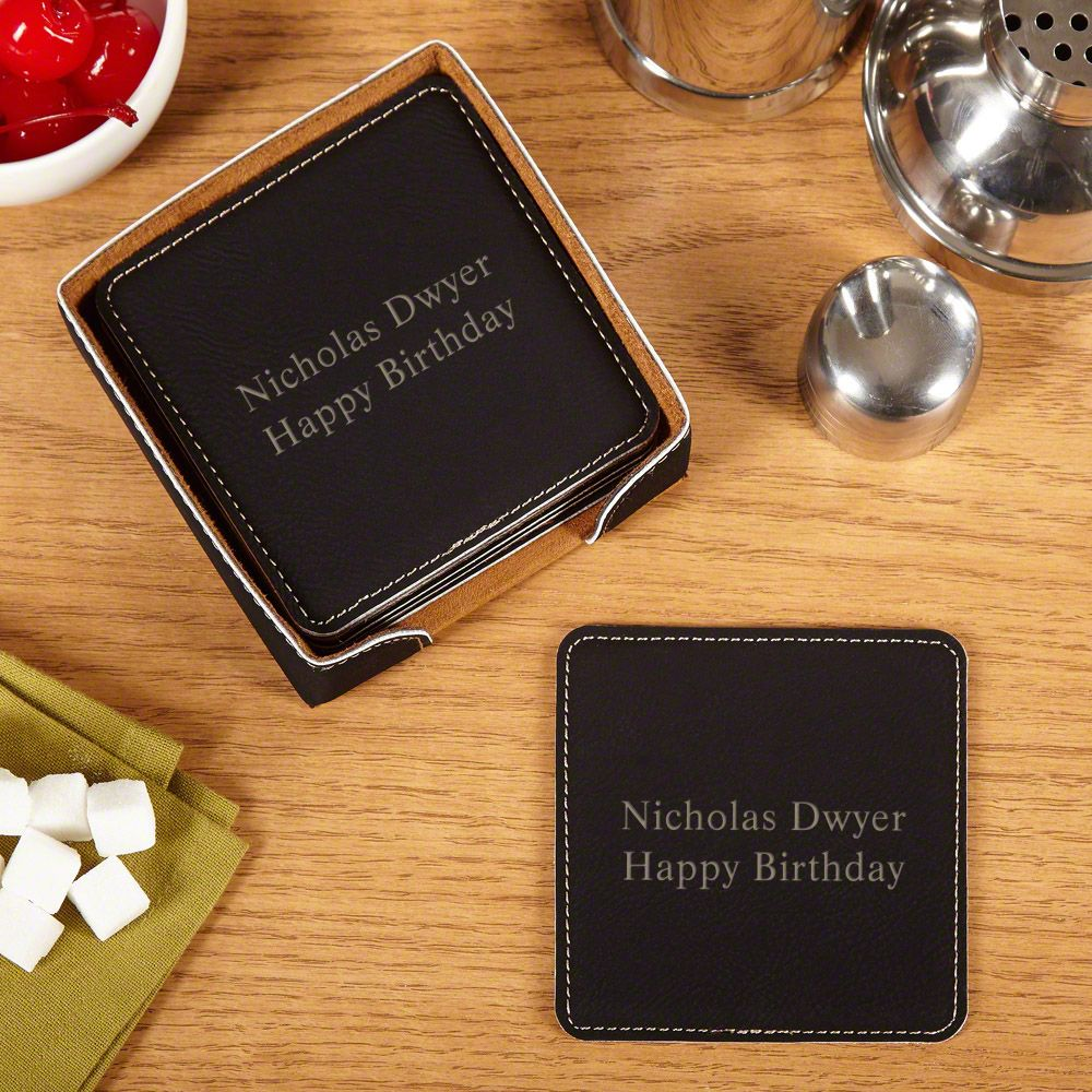 Personalized Faux Leather Drink Coasters, Set of 6