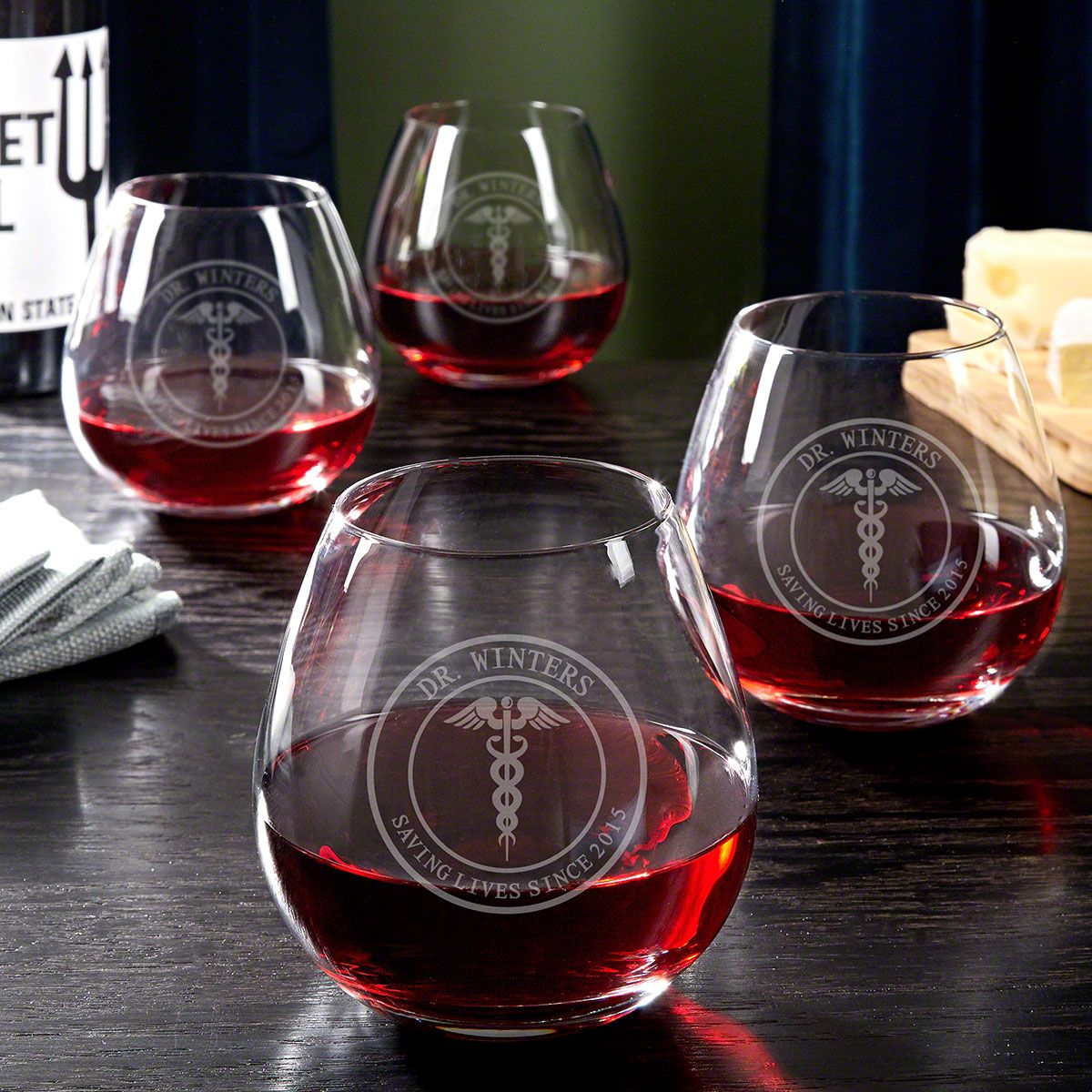 Medical Arts Personalized Wine Glasses Set of 4