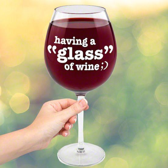 Winking Emoji XL Funny Wine Glass