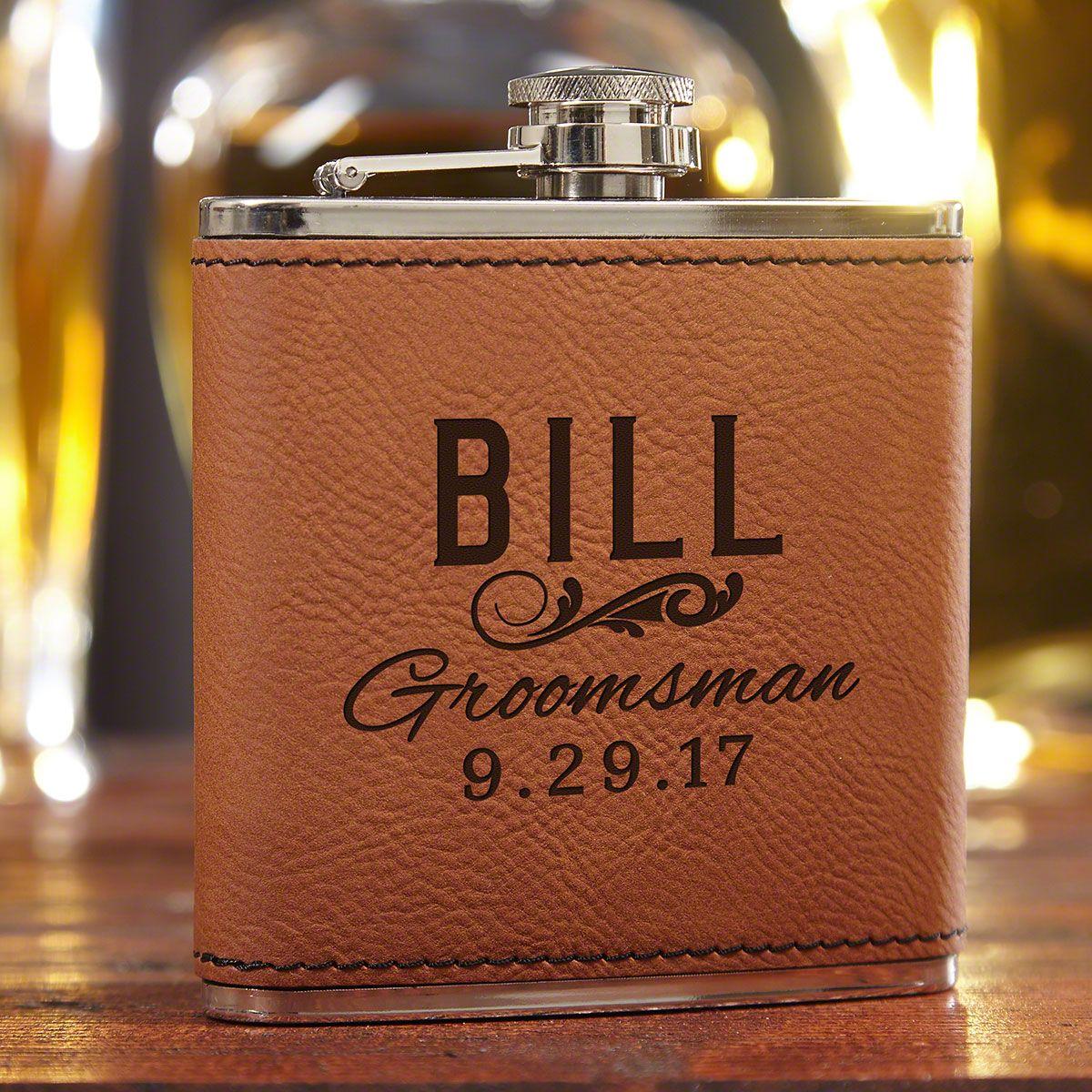 Classic Groomsman Custom Saddle Brown Flask