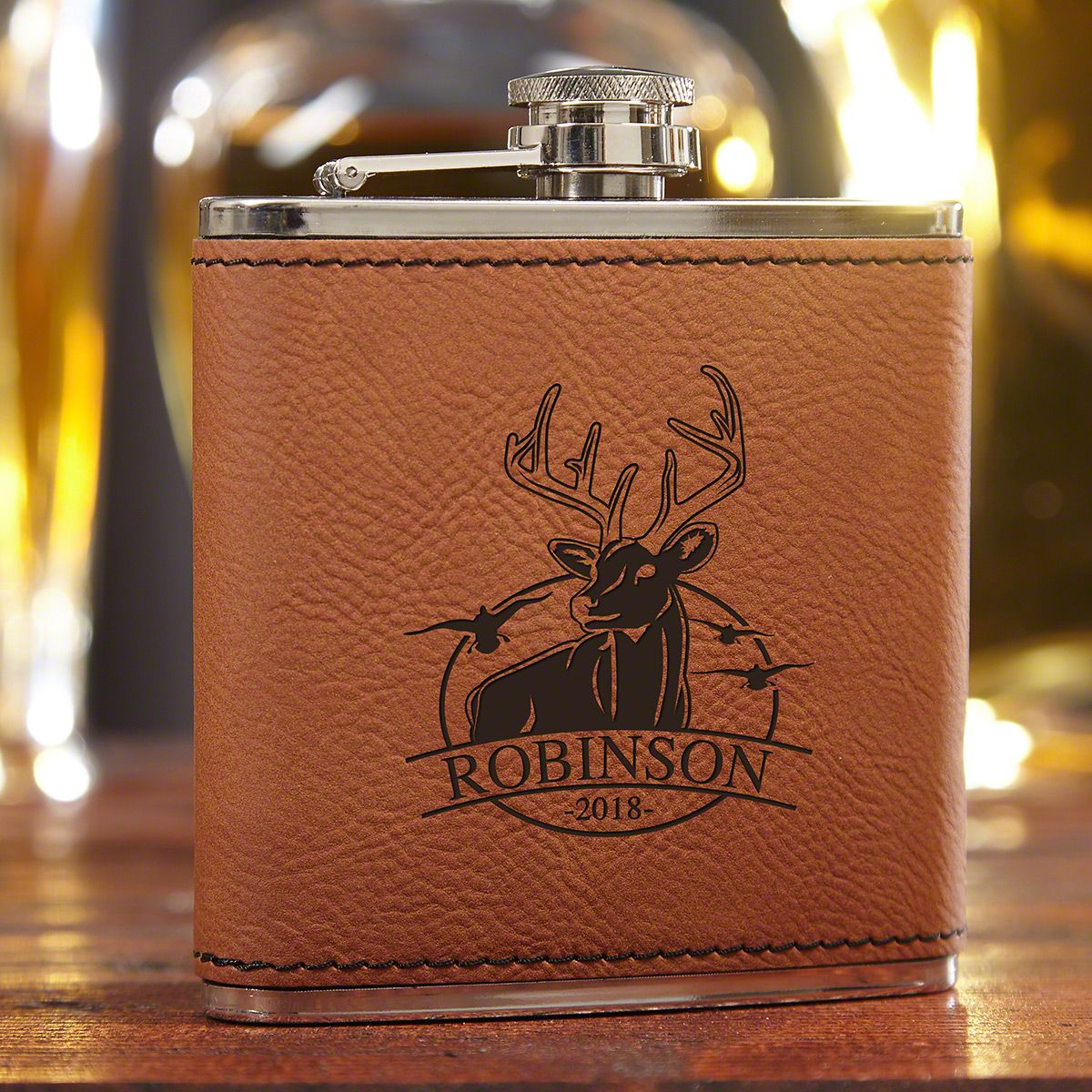 Outdoor Life Personalized Saddle Brown Hip Flask