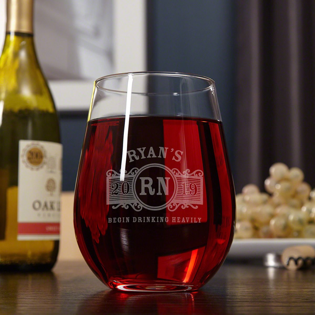 Marquee Giant Stemless Personalized Wine Glass