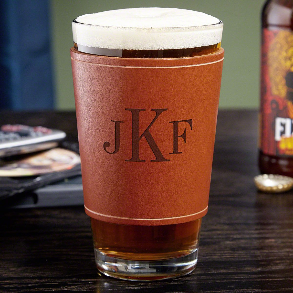 Classic Monogram Pint Glass with Personalized Leather Wrap