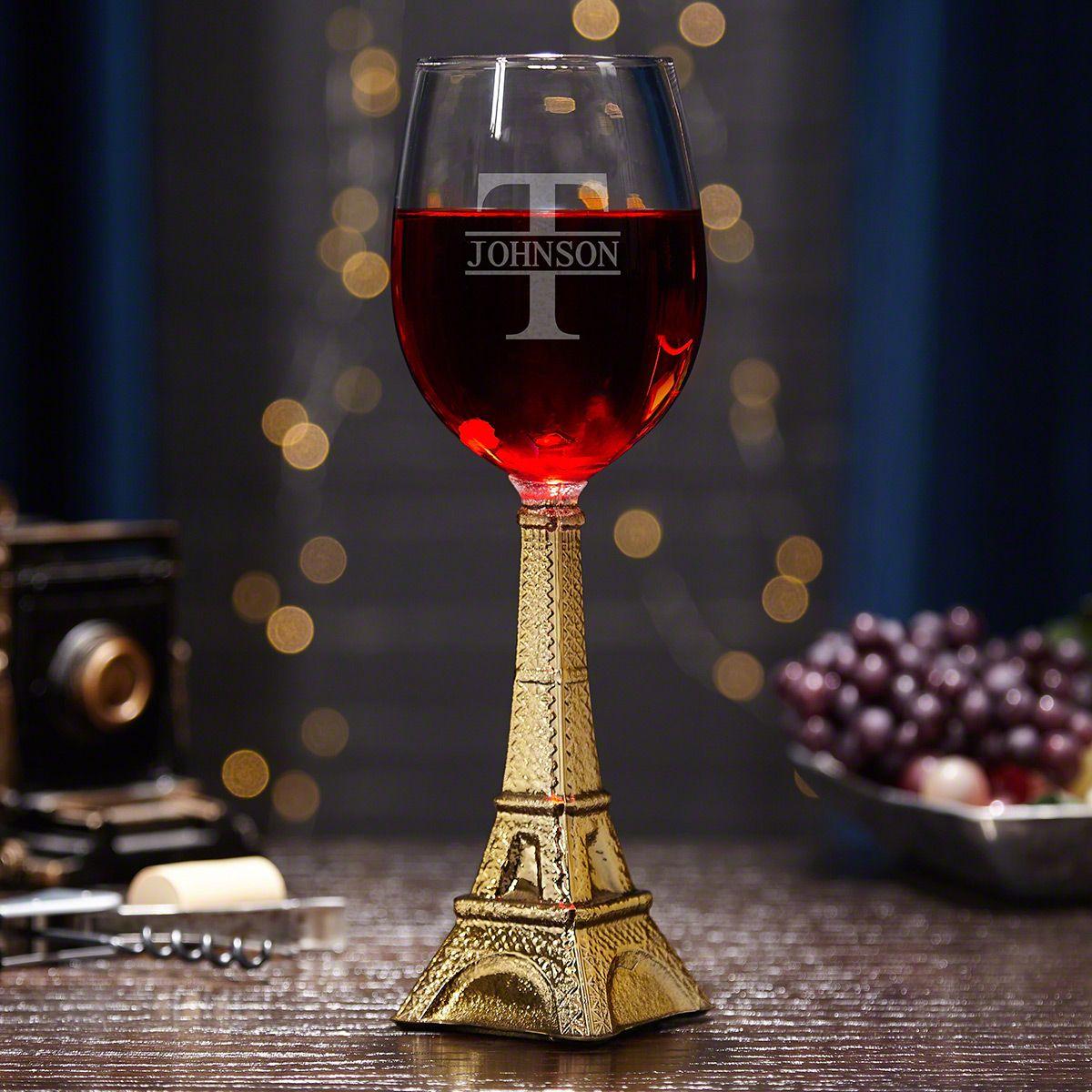 Oakmont Personalized Eiffel Tower Wine Glass, Gold