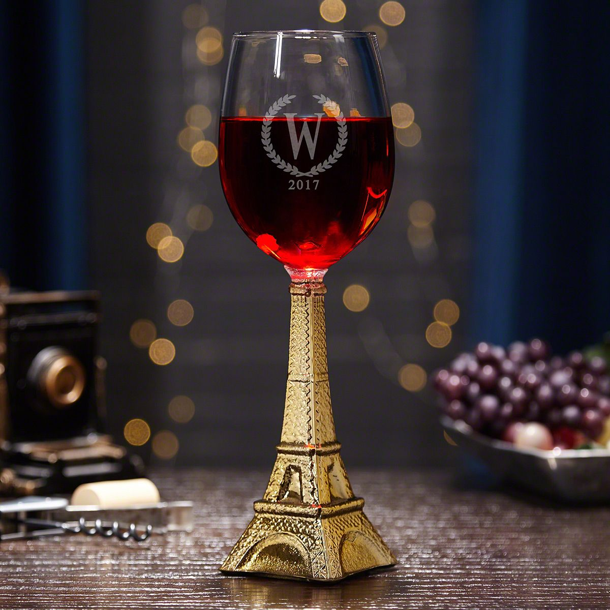 Custom Statesman Eiffel Tower Wine Glass, Gold