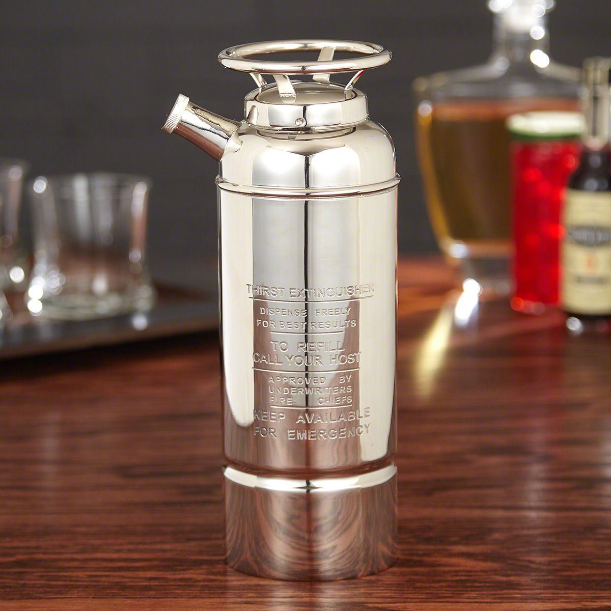 In Case of Emergency Silver-Plated Cocktail Shaker