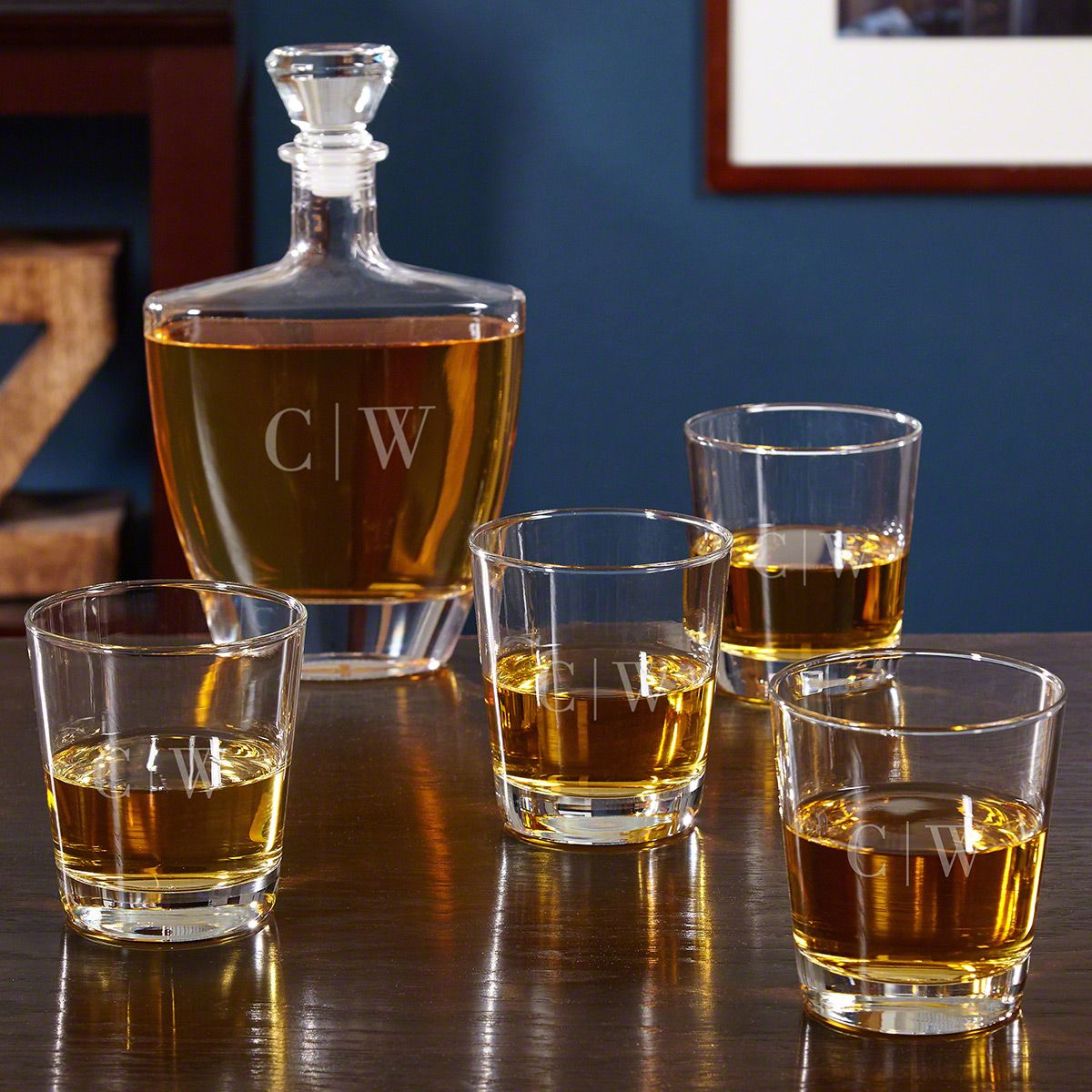 Quinton Monogrammed Decanter Set with Rocks Glasses