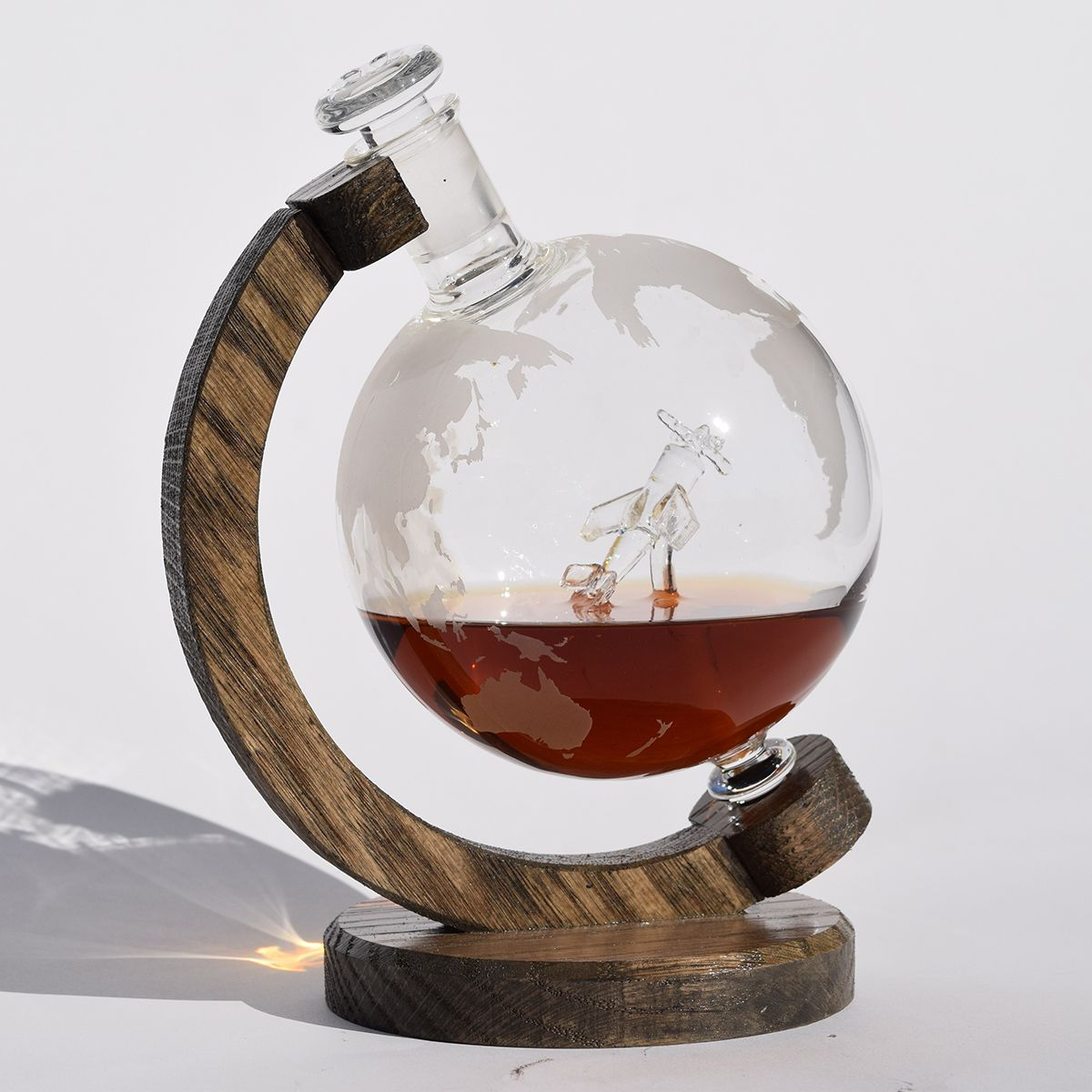 WWII Fighter Plane Globe Decanter with Oak Base