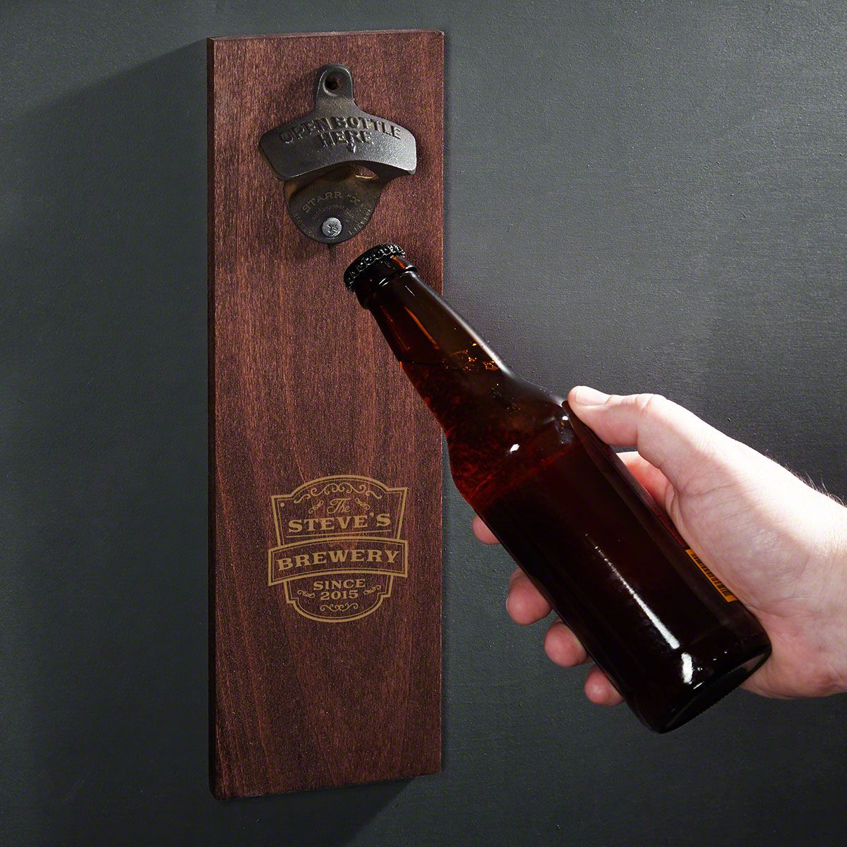 Vintage Brewery Personalized Wooden Wall Bottle Opener