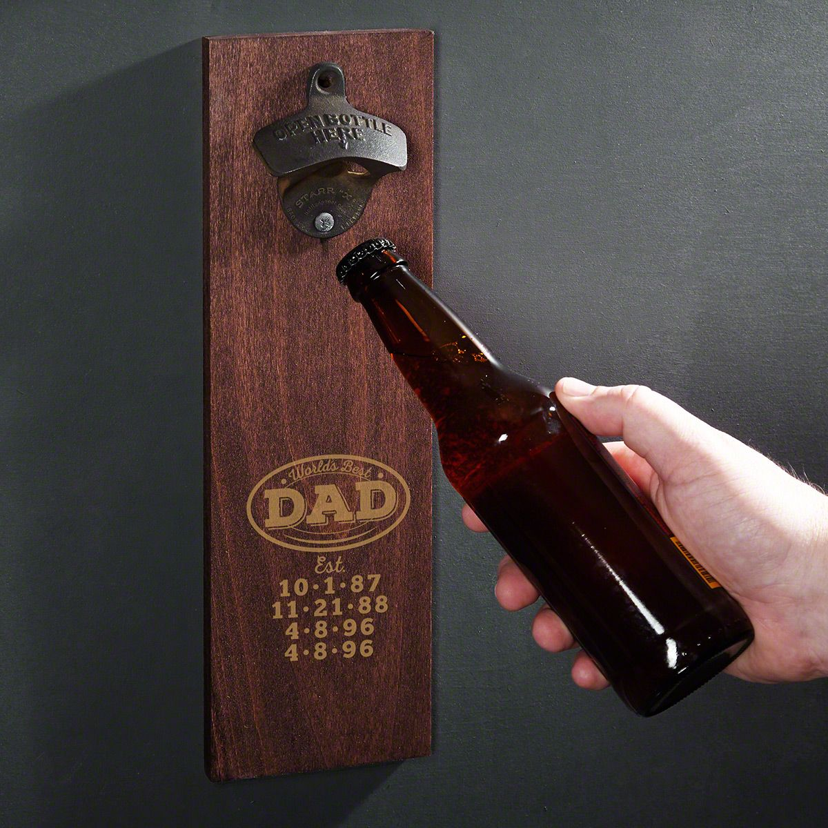 Worlds Best Dad Personalized Wooden Wall Bottle Opener