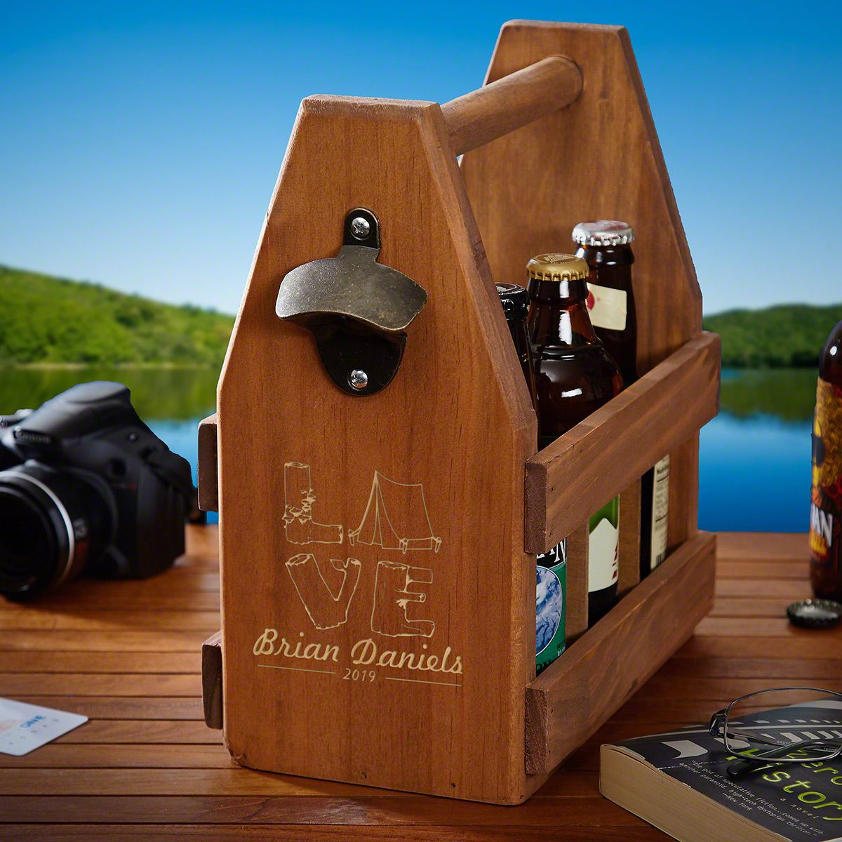 Love for Camping Personalized Wooden Beer Bottle Holder