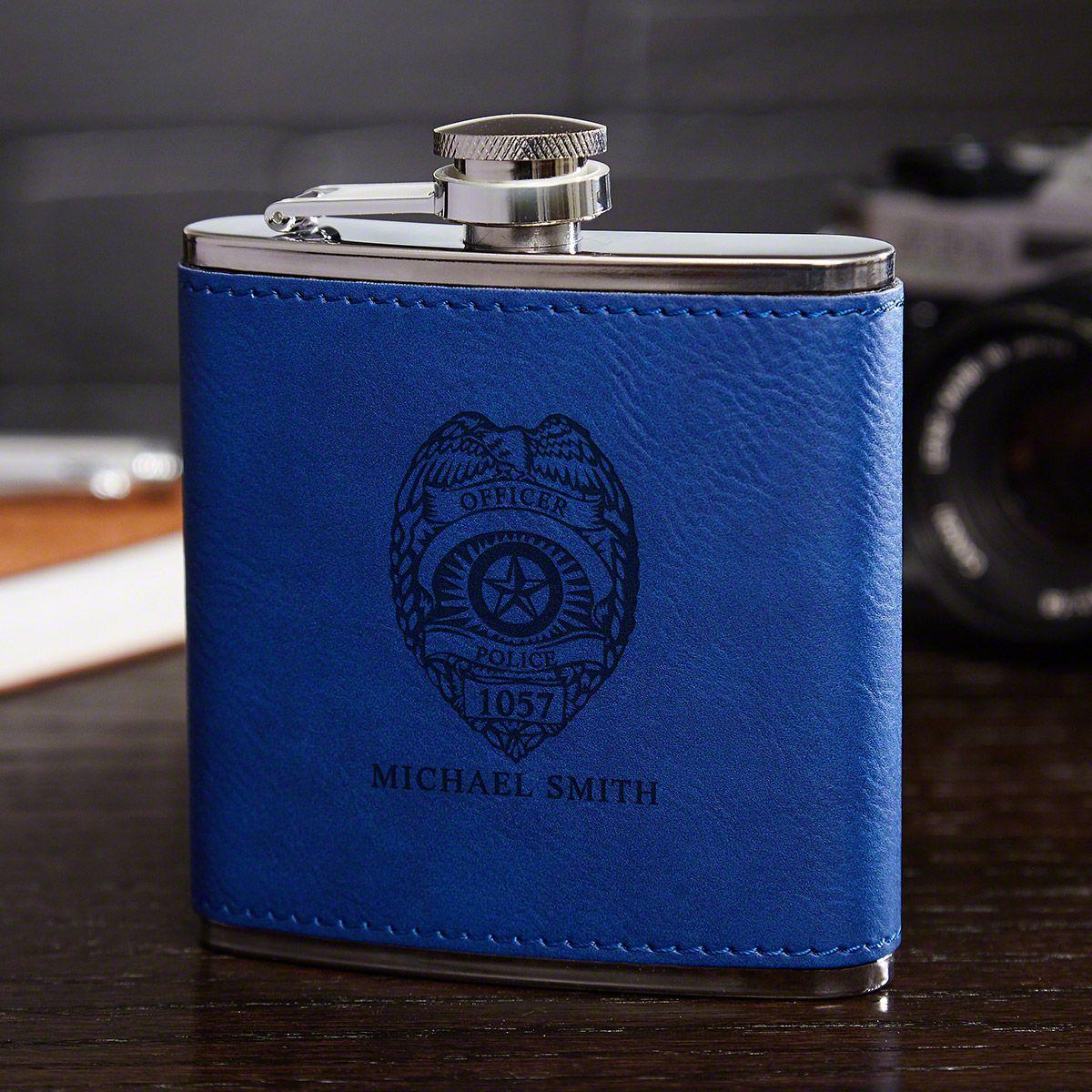 Police Badge Cobalt Blue Personalized Hip Flask